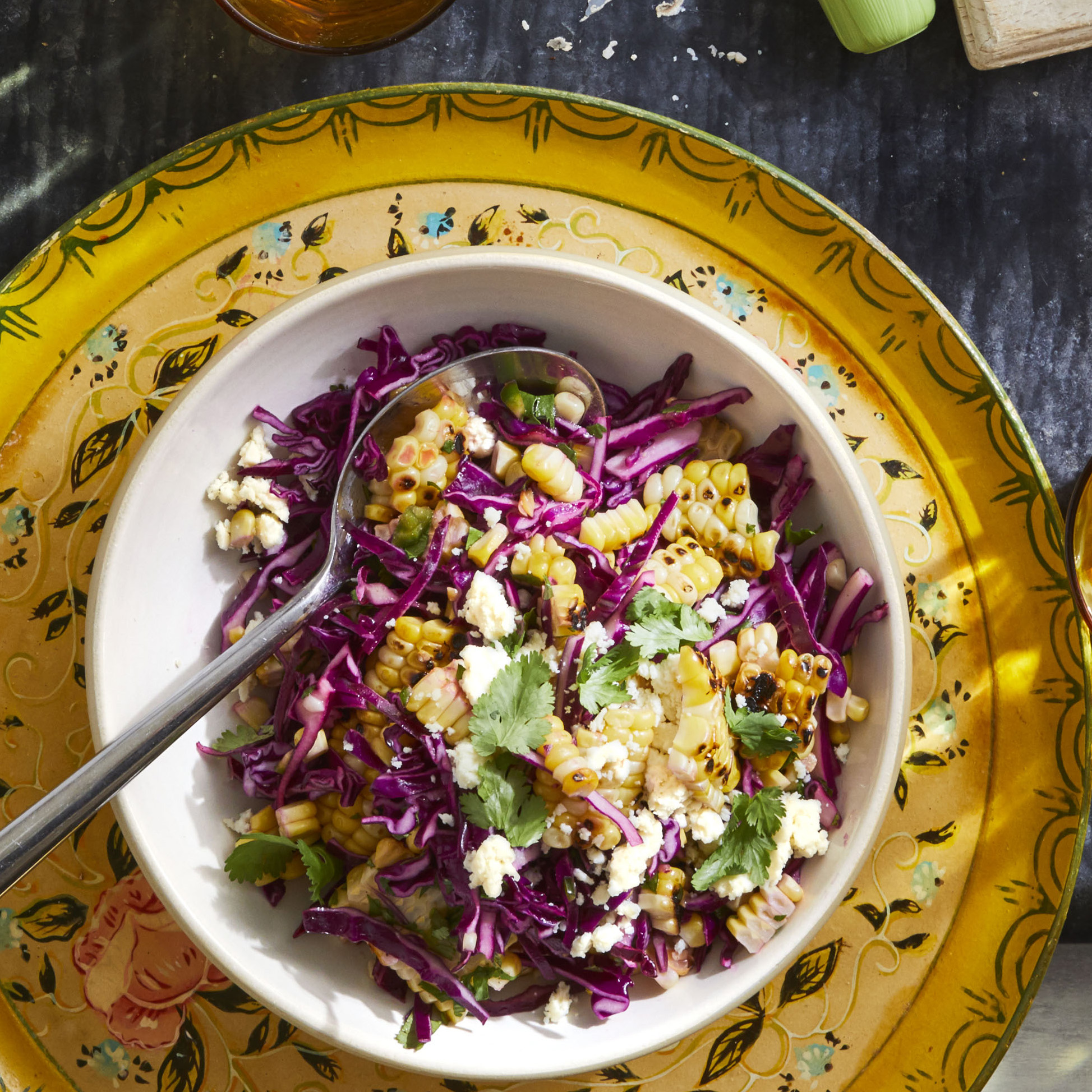 Grilled Corn and Red Cabbage Slaw