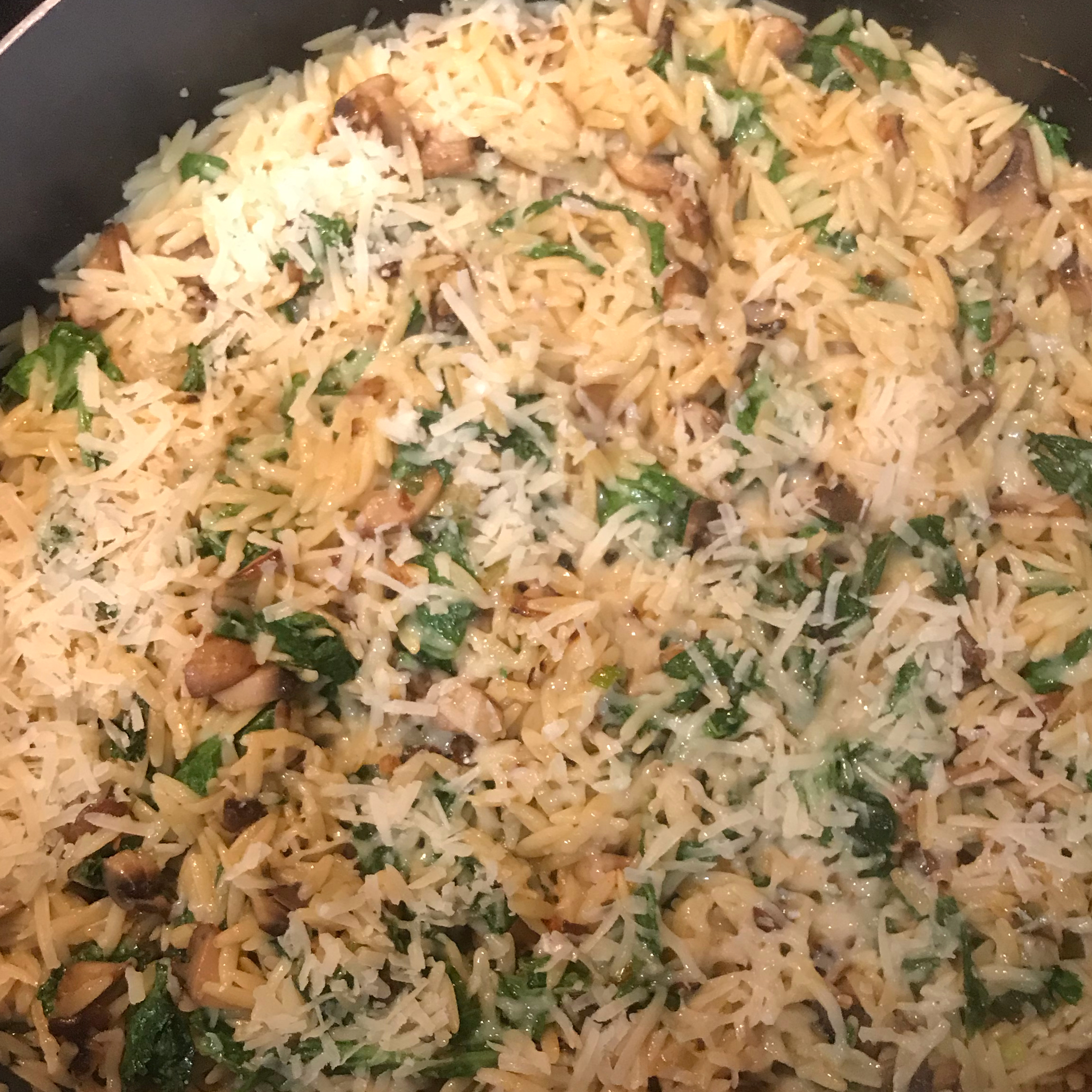 Orzo with Caramelized Mushrooms and Wilted Spinach Shar