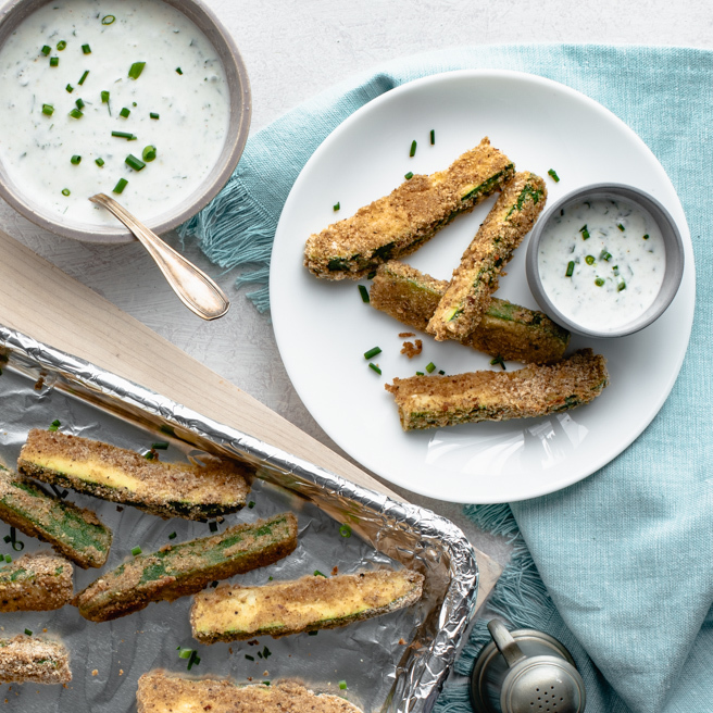 These easy oven-baked veggie fries are made from thick slices of zucchini dipped in a seasoned breadcrumb batter. Served with an herbed buttermilk dipping sauce, they're so good, you may just prefer them over regular potato fries! Source: Diabetic Living Magazine
