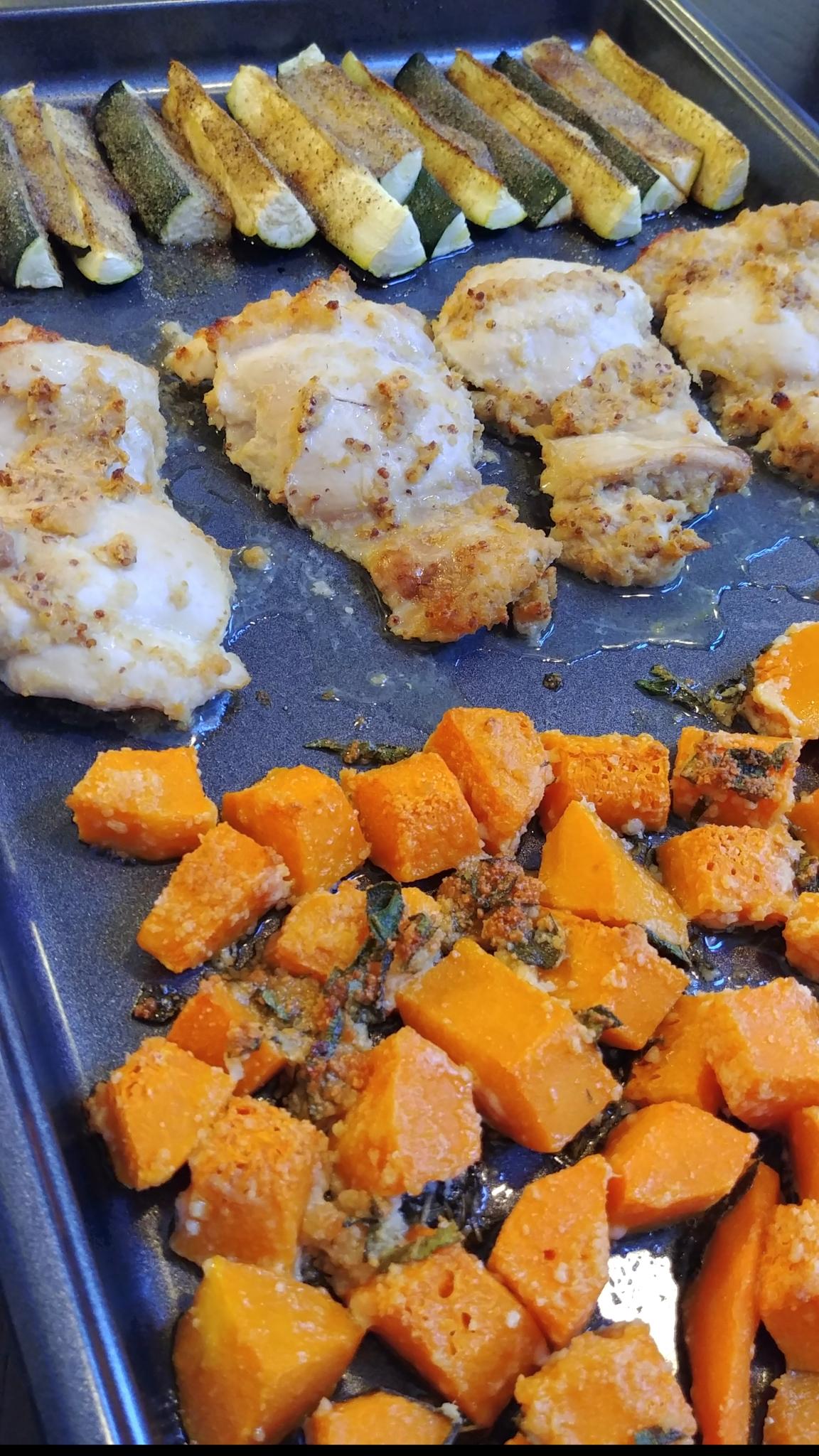 Horseradish Chicken, Butternut Squash, and Zucchini Sheet Pan Dinner