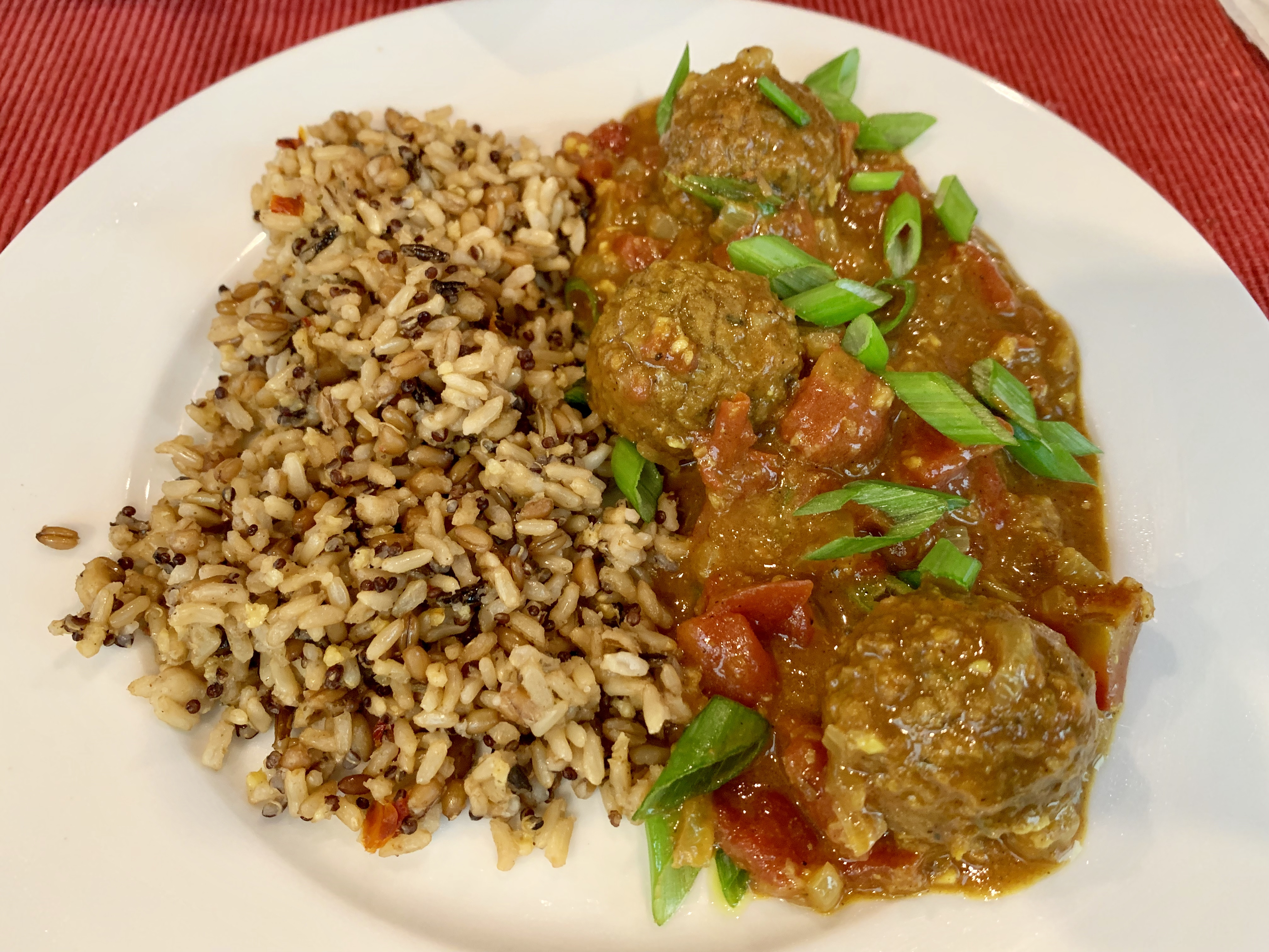 """Quick to make, but full of flavor, this vegetarian curry features meatless vegetable meatballs. """"My mother-in-law is Indian and let me in on a secret: The vegetable balls from IKEA® make for a great and ridiculously easy vegetarian kofta curry,"""" says Diana Moutsopoulos. """"This is ready in just about 30 minutes, making it perfect for a weeknight. Serve with basmati rice."""""""