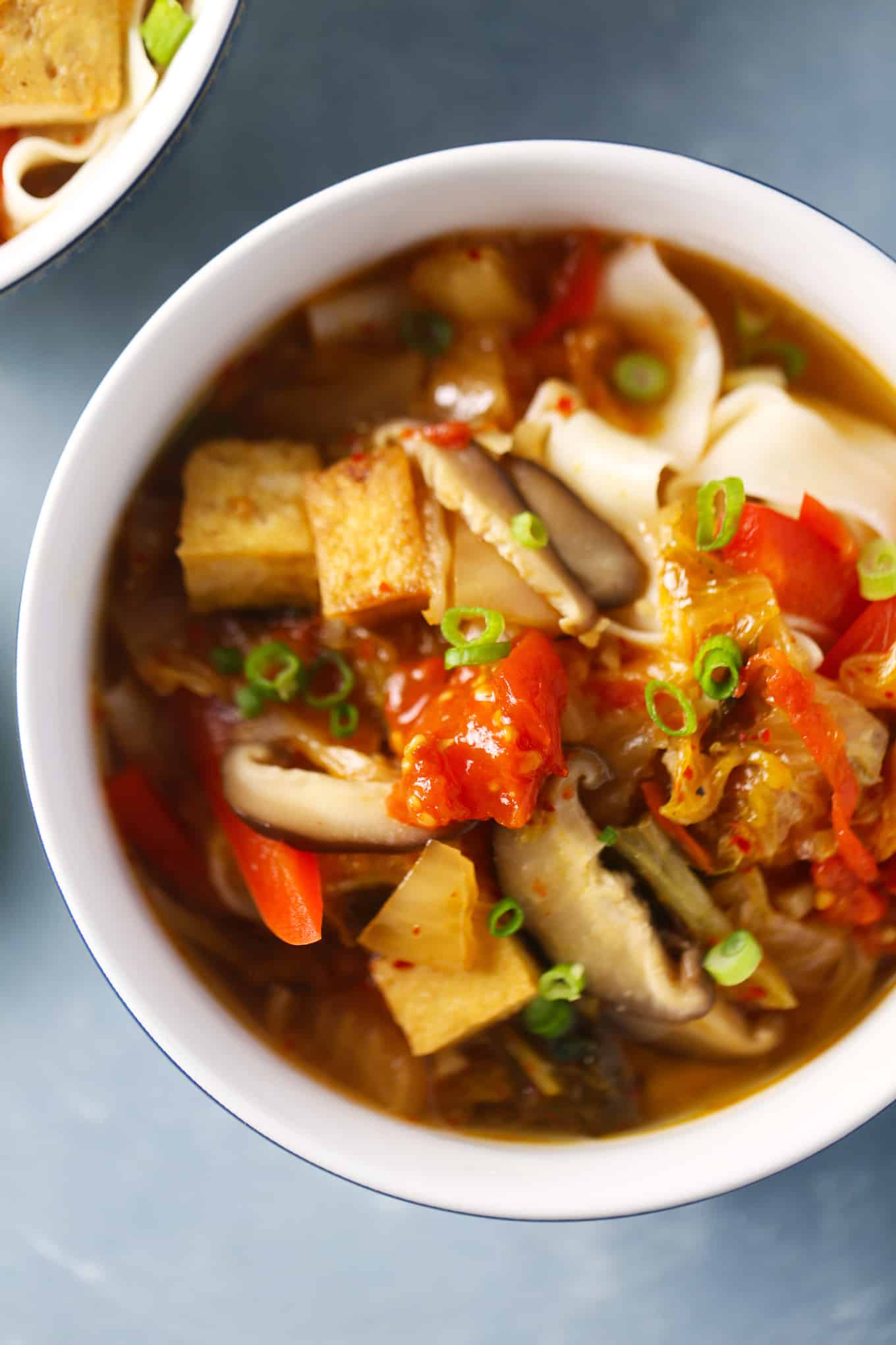 Japanese Mushroom and Tofu Udon Noodle Soup