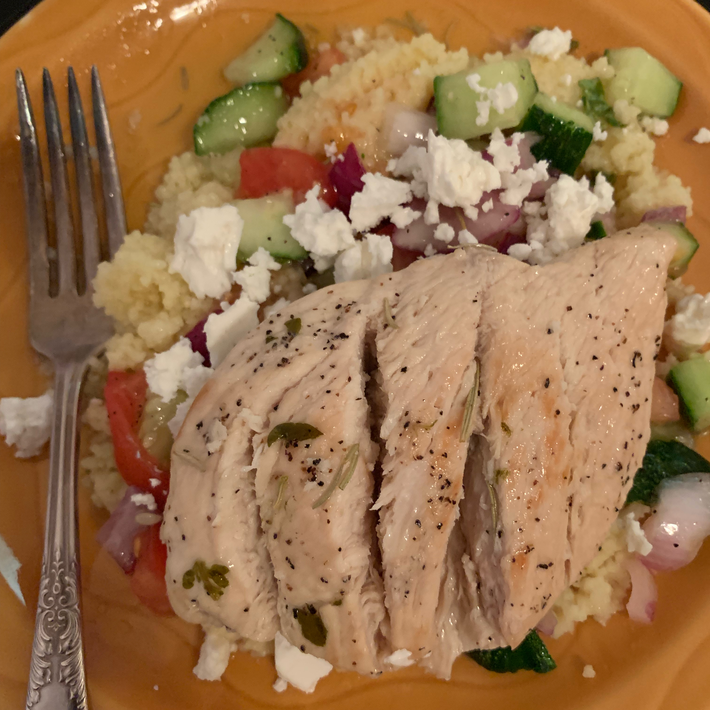 Lemon Herb Chicken with Couscous and Cucumber Salad ktcooks