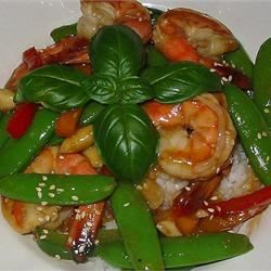 Stir-Fried Shrimp with Snow Peas and Ginger