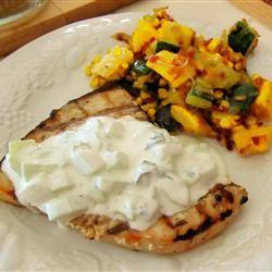 Grilled Swordfish Steaks with Cucumber Sauce KathieBr