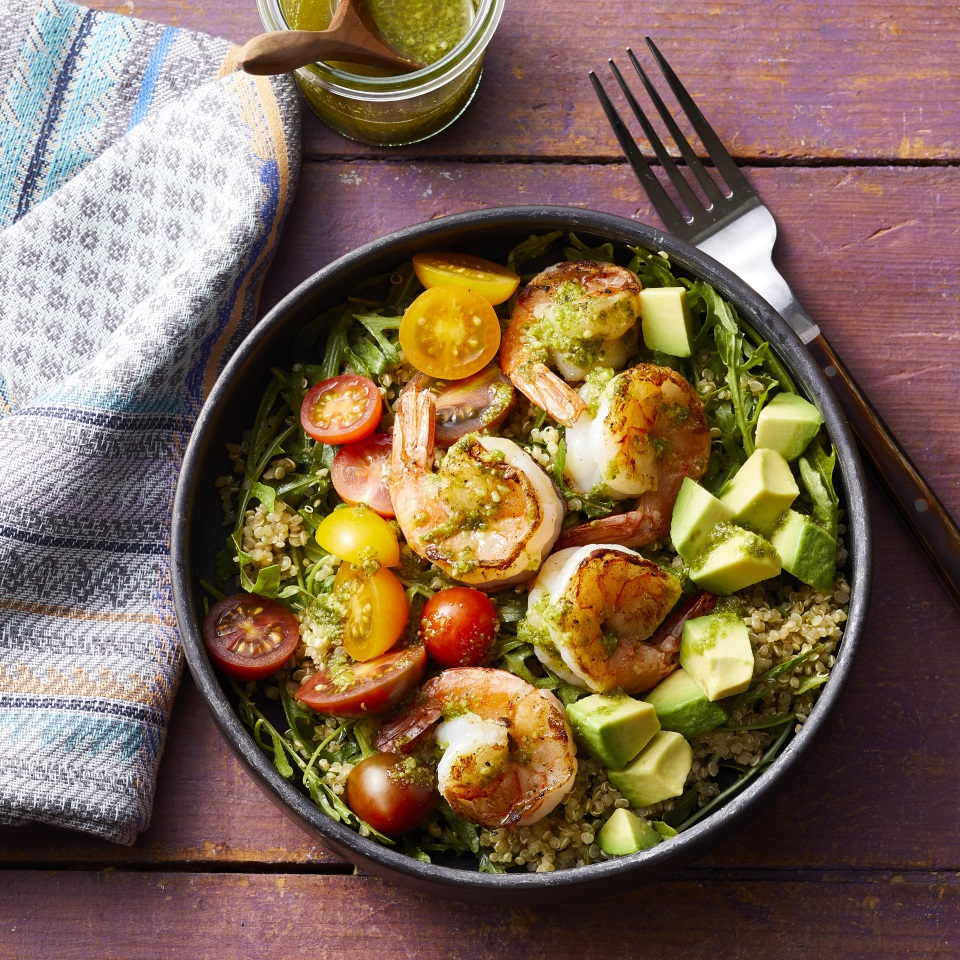 Charred Shrimp & Pesto Buddha Bowls Carolyn Casner