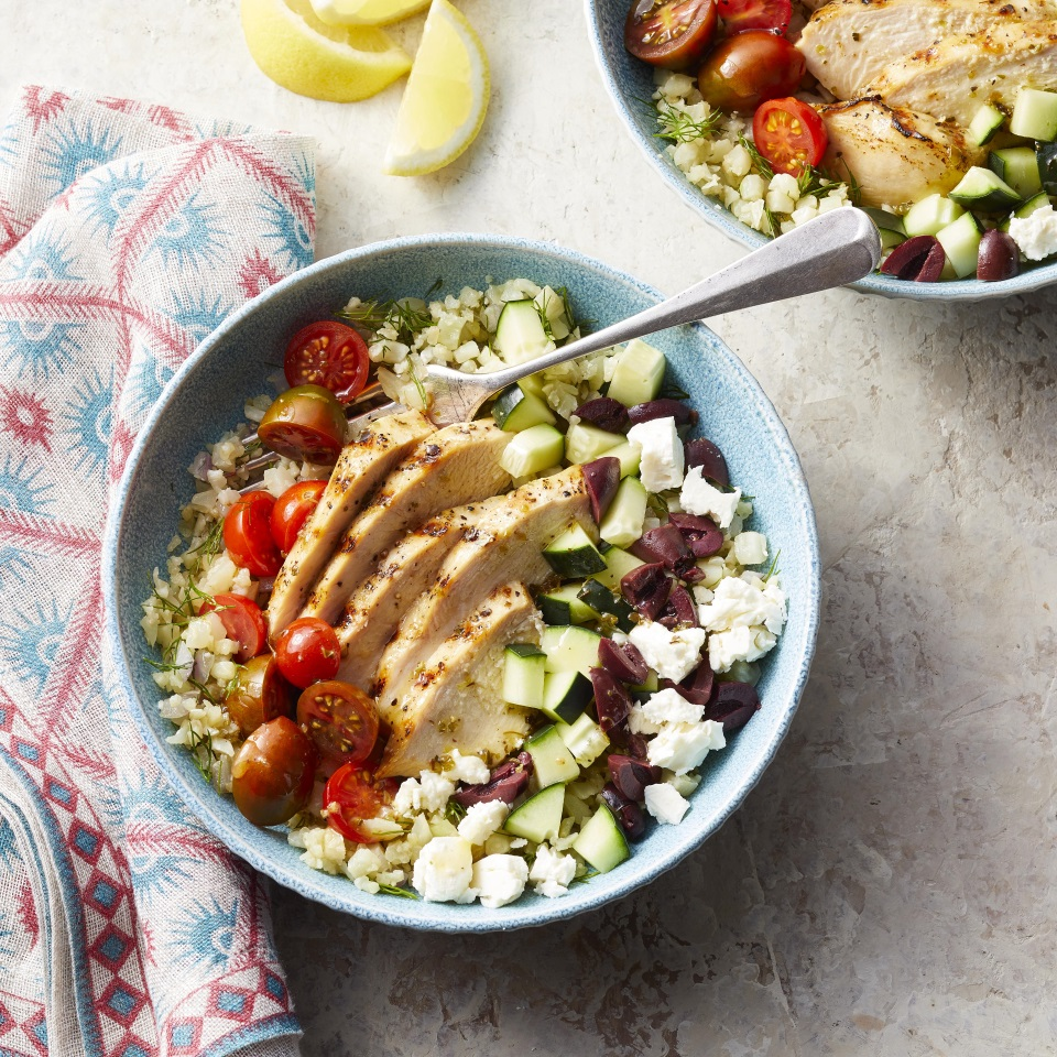 Greek Cauliflower Rice Bowls with Grilled Chicken Trusted Brands