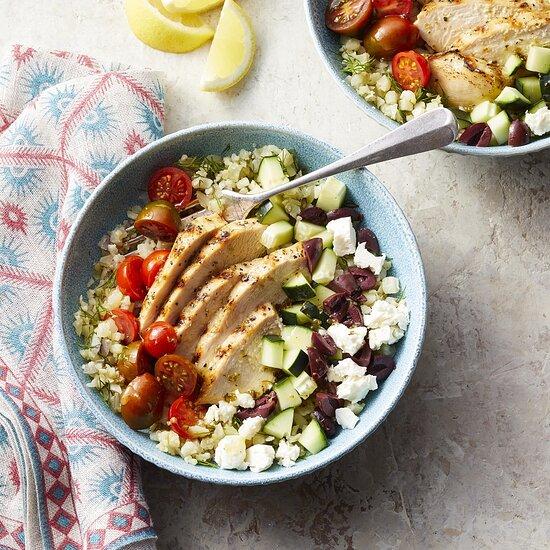 Greek Cauliflower Rice Bowls with Grilled Chicken Carolyn Casner