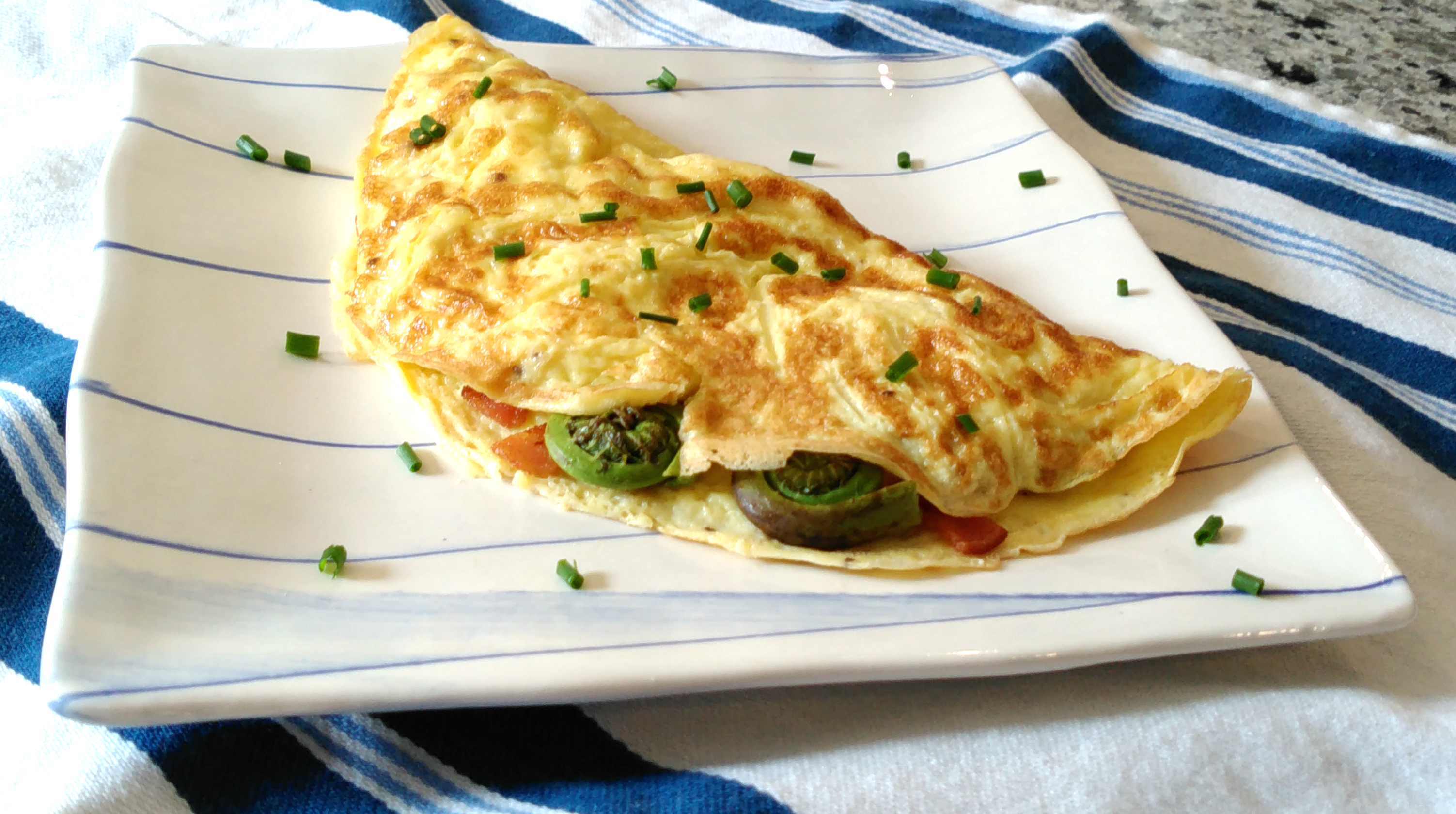 Fiddlehead and Bacon Omelette