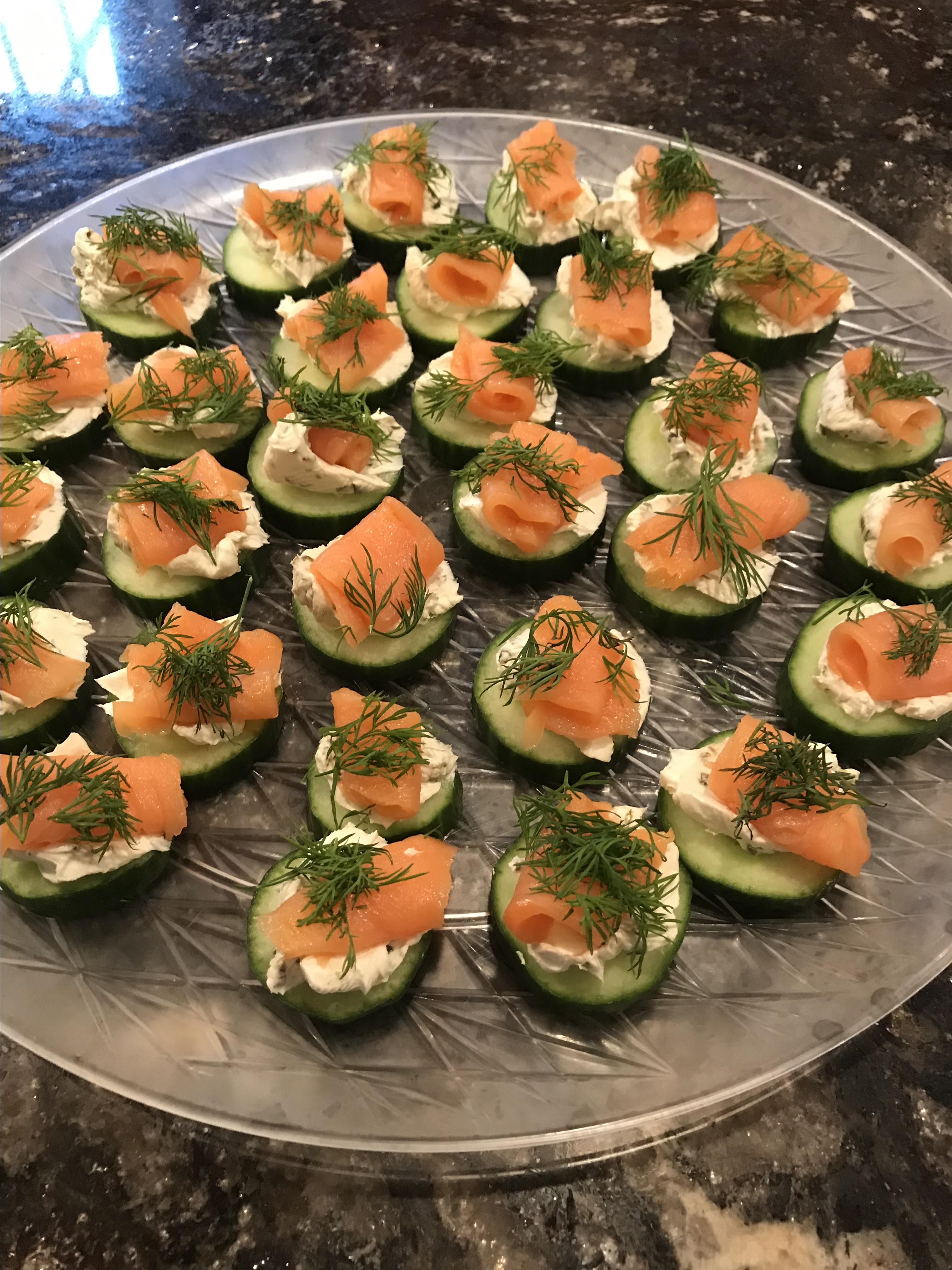 Cucumber Cups with Dill Cream and Smoked Salmon Sue Toth