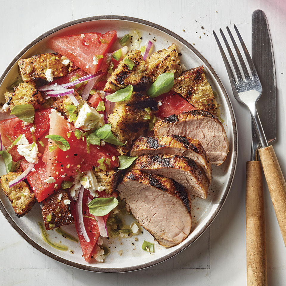Grilled Pork Tenderloin with Watermelon Panzanella Allrecipes Trusted Brands