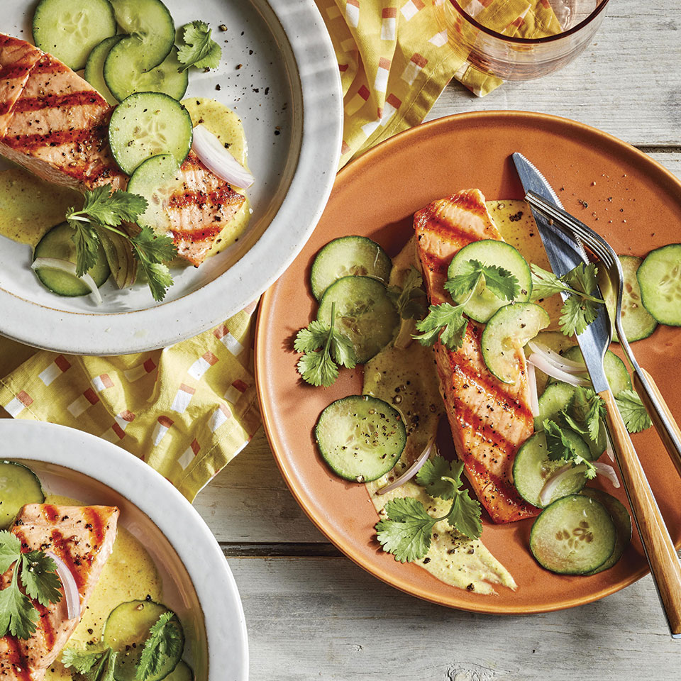 Three ingredients you probably already have on hand--curry powder, yogurt and lemon juice--meld into a mouthwatering sauce that transforms simple grilled salmon. This healthy and easy dinner recipe comes together in just 20 minutes. Source: EatingWell Magazine, July/August 2019