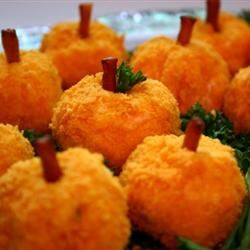 Mini Cheeseball Pumpkins with Caramelized Garlic