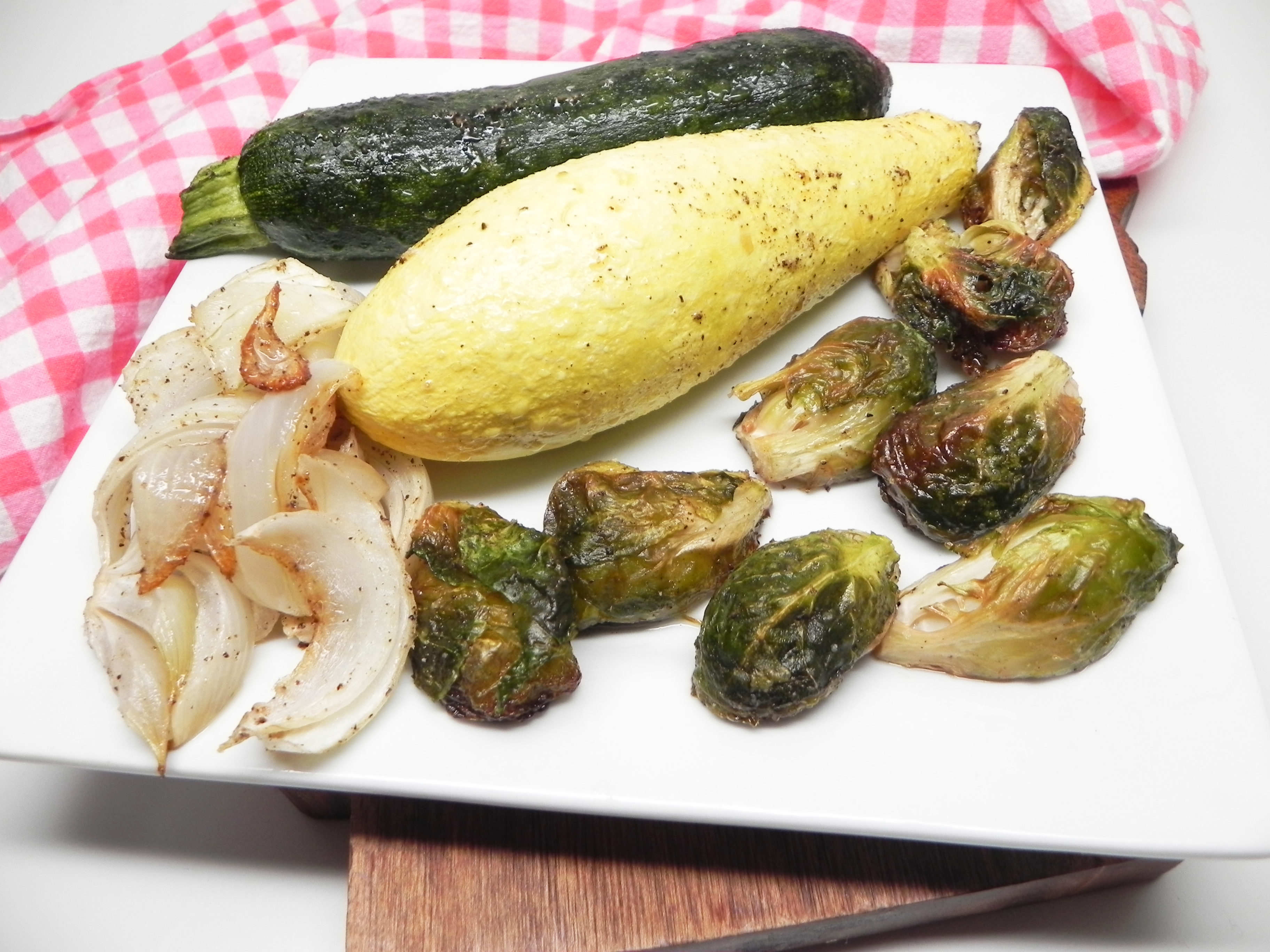 Roasted Summer Squash, Zucchini, and Brussels Sprouts