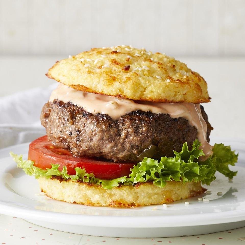 Classic Beef Burgers with Cauliflower Buns Carolyn Casner