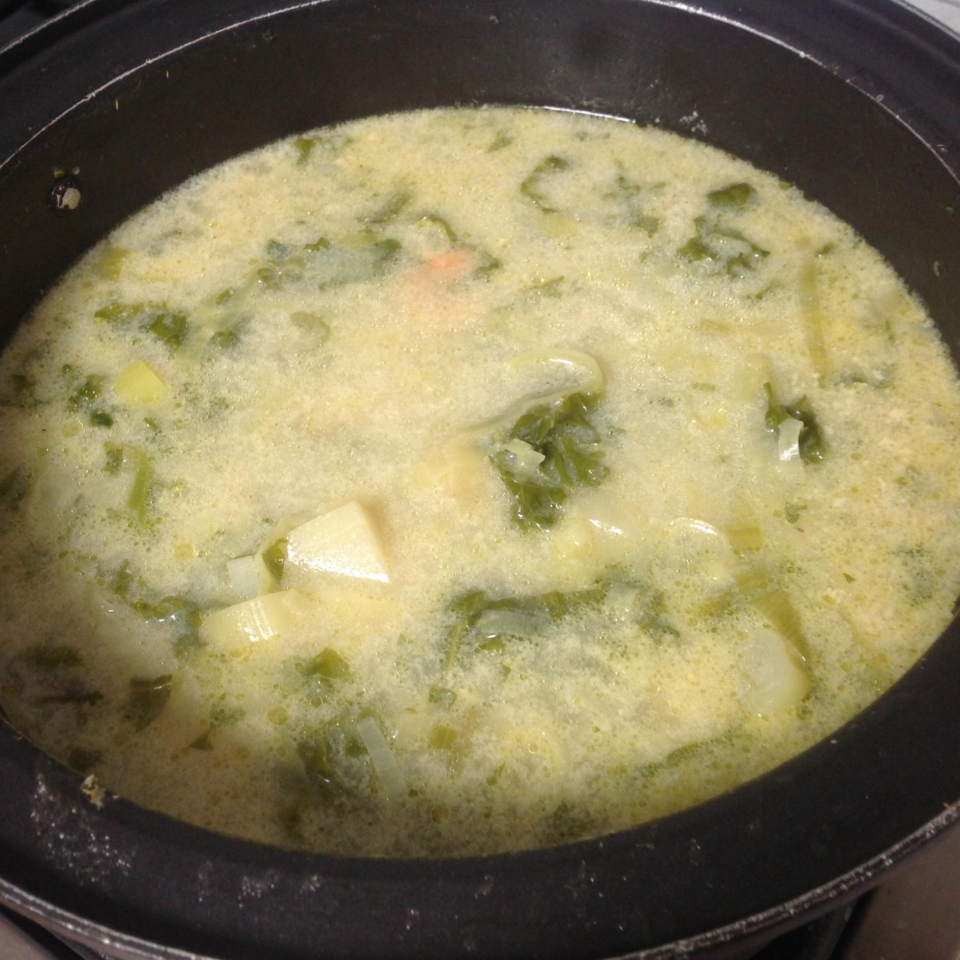 Leek and Potato Soup with Shrimp Elizabeth