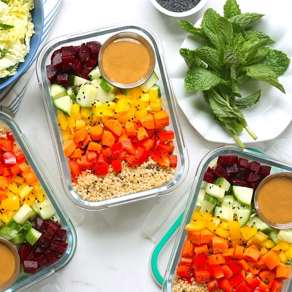 Make good use of crunchy and colorful seasonal produce in these meal-prep-friendly vegetable bowls. With just 30 minutes of prep, you get four healthy lunches that are ready to grab-and-go. We use bulgur, which cooks faster and is higher in fiber than brown rice, but you could swap in quinoa (or any hearty whole grain). Feel free to add chopped cooked chicken, shrimp or tofu for extra protein. Source: EatingWell.com, June 2019