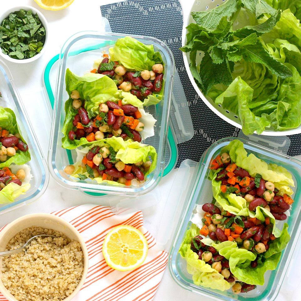For these meal-prep-friendly lettuce wraps, we swap the traditional warm filling for a cold plant-based bean salad filling loaded with fresh herbs and lemon. Topping each lettuce leaf with a little quinoa before adding the filling helps to keep the lettuce from getting soggy.