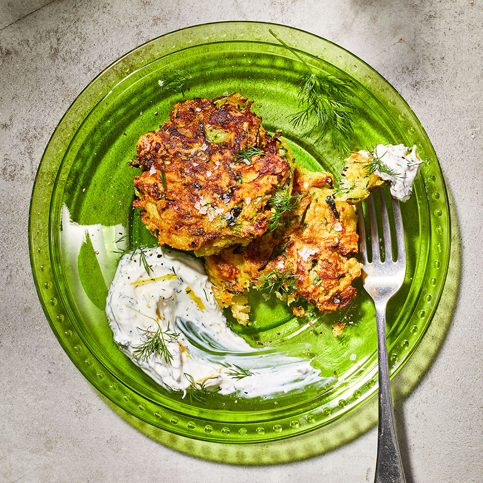 Zucchini Fritters with Dill Yogurt Allrecipes Trusted Brands