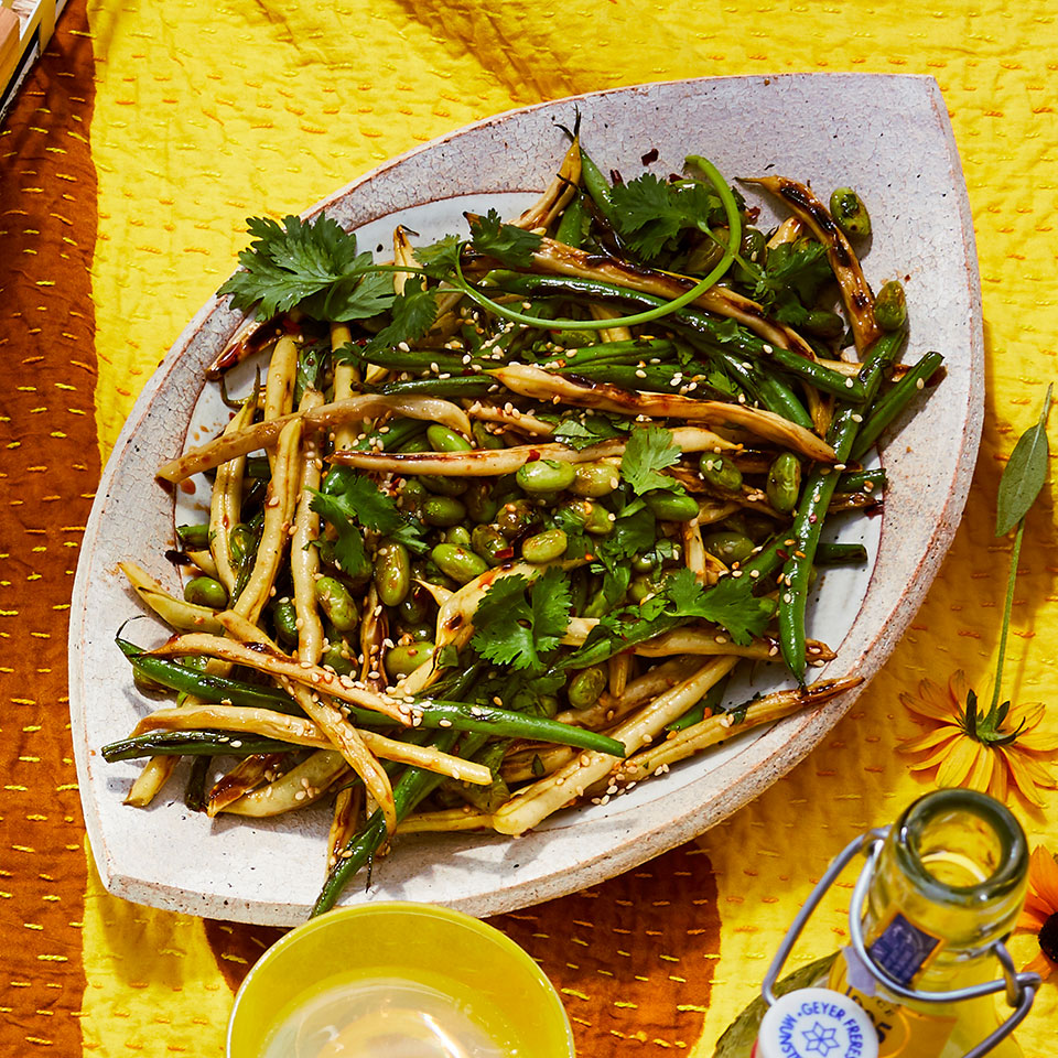 Haricots verts are thinner than regular green beans, but you can use any bean with an edible pod (ask the vendor at your local farmers' market) in their place in this easy side dish recipe. Serve this healthy 3-bean salad with grilled chicken or fish for a satisfying summer meal. Source: EatingWell Magazine, July/August 2019