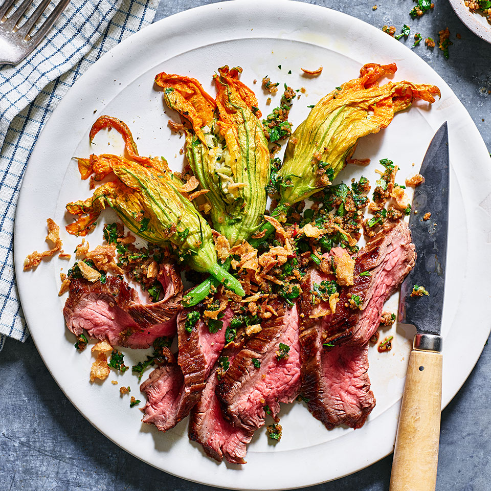Grilled Hanger Steak with Stuffed Squash Blossoms & Crispy Onions Charlie Foster