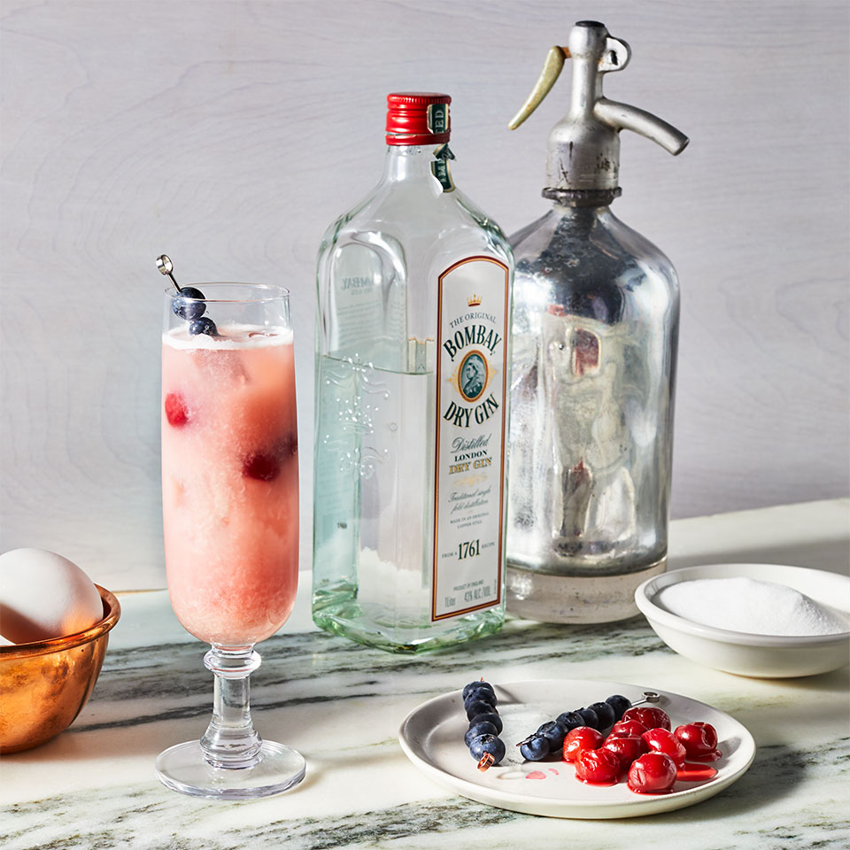 We've added a little red, white and blue to the classic gin fizz to create a summer cocktail that's perfect for Fourth of July celebrations or any other summer party. Sour cherries contain anthocyanins, antioxidants shown to reduce muscle soreness after workouts, and melatonin, which can help you sleep better. If you can't find them fresh, use frozen. Skip jarred or canned cherries to avoid added sugar. Source: EatingWell Magazine, July/August 2019