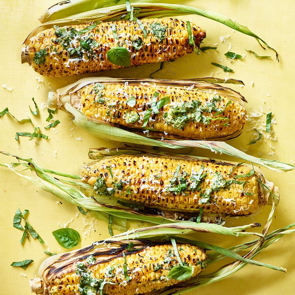 If Mexican street corn took a trip to Genoa, it might come back slathered in pesto butter like this grilled corn on the cob recipe. This Italian flair works because the flavors of basil and Parmesan have a natural affinity with corn. Source: EatingWell Magazine, July/August 2019