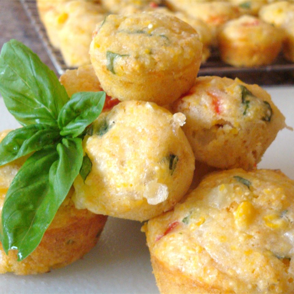 Basil, Roasted Peppers and Monterey Jack Cornbread