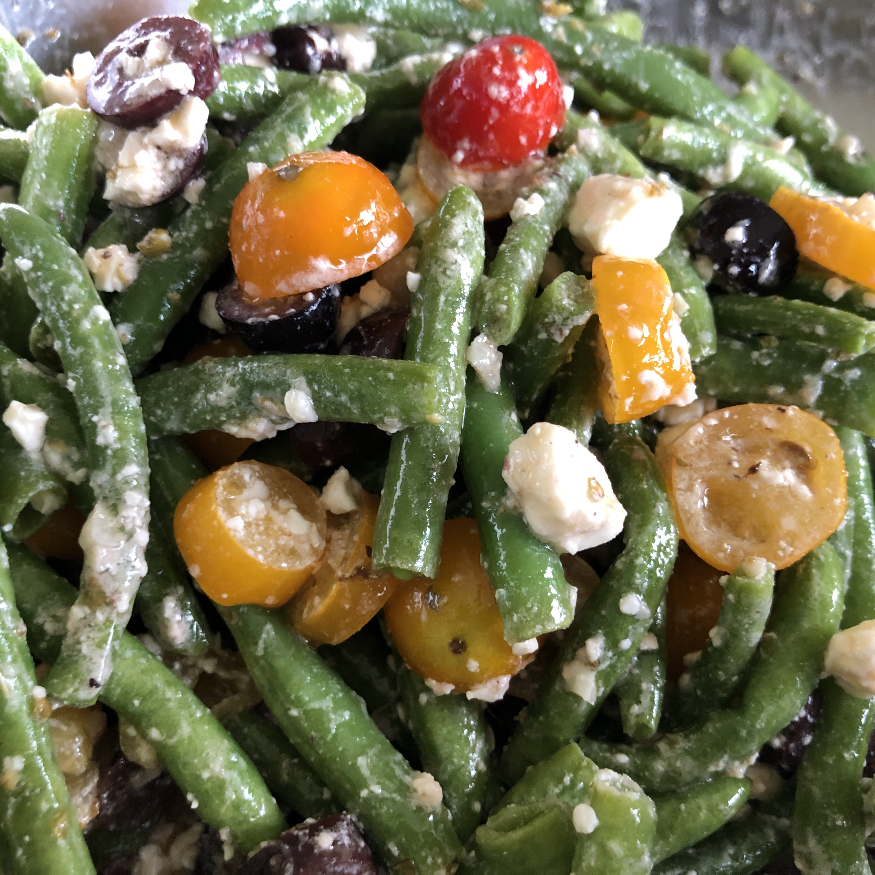 Marinated Green Beans with Olives, Tomatoes, and Feta KimcheeMomma