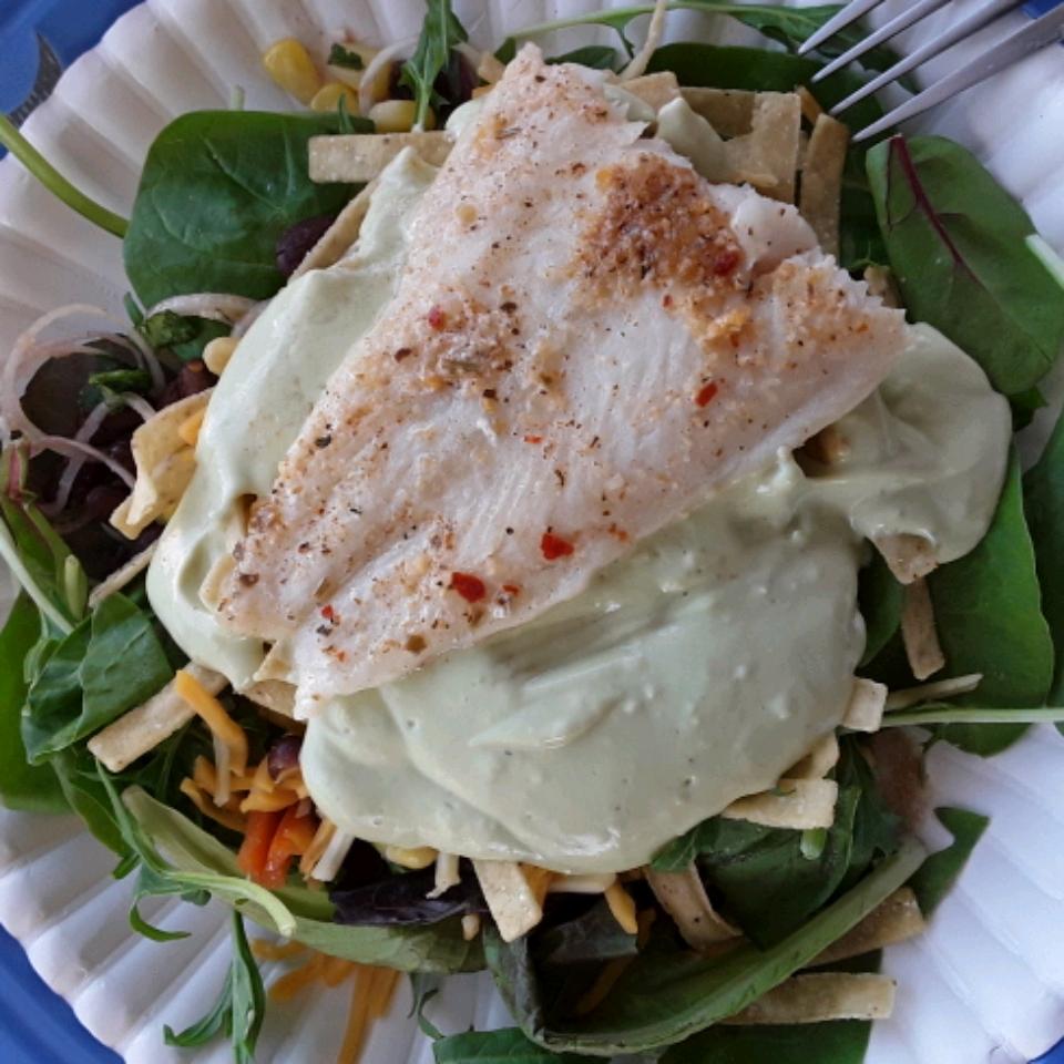 Grilled Fish Taco Salad with Avocado Dressing Gloria Worthington