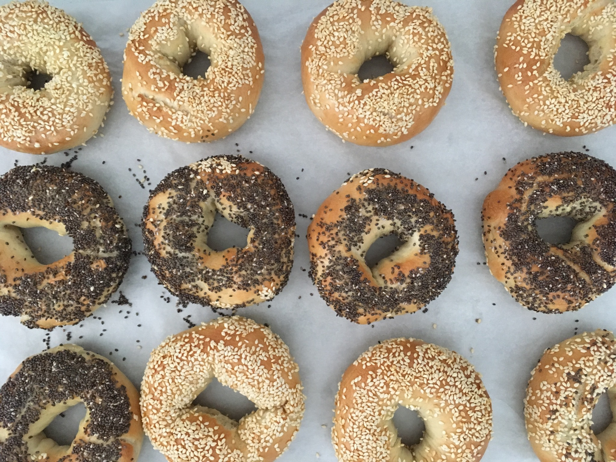 "Personalize these homemade bagels with whatever topping you'd like. Reviewer SWELLSVILLE says, ""My husband said if he didn't know I made them, he would have thought they came from the bagel shop!"""