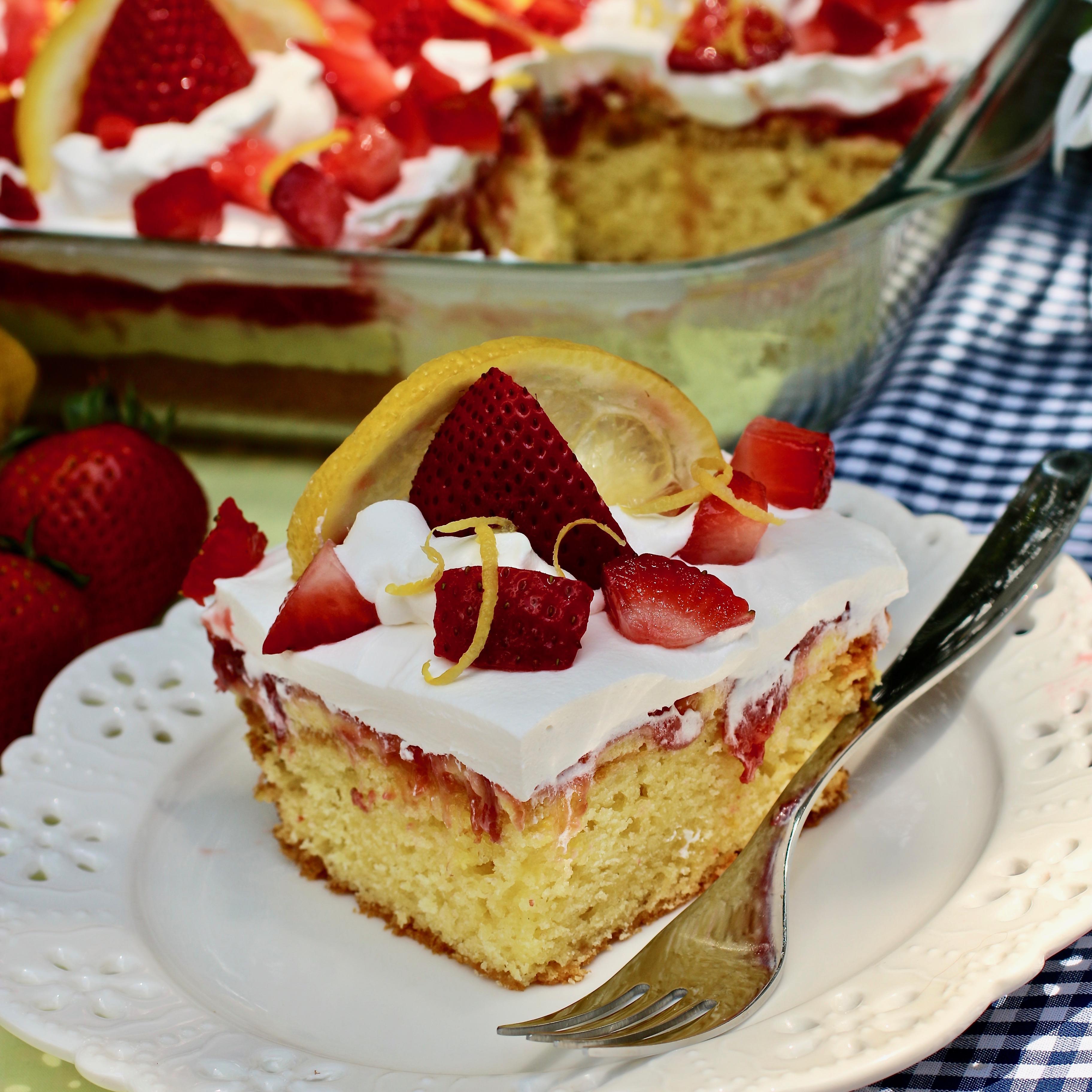 Strawberry-Lemon Poke Cake
