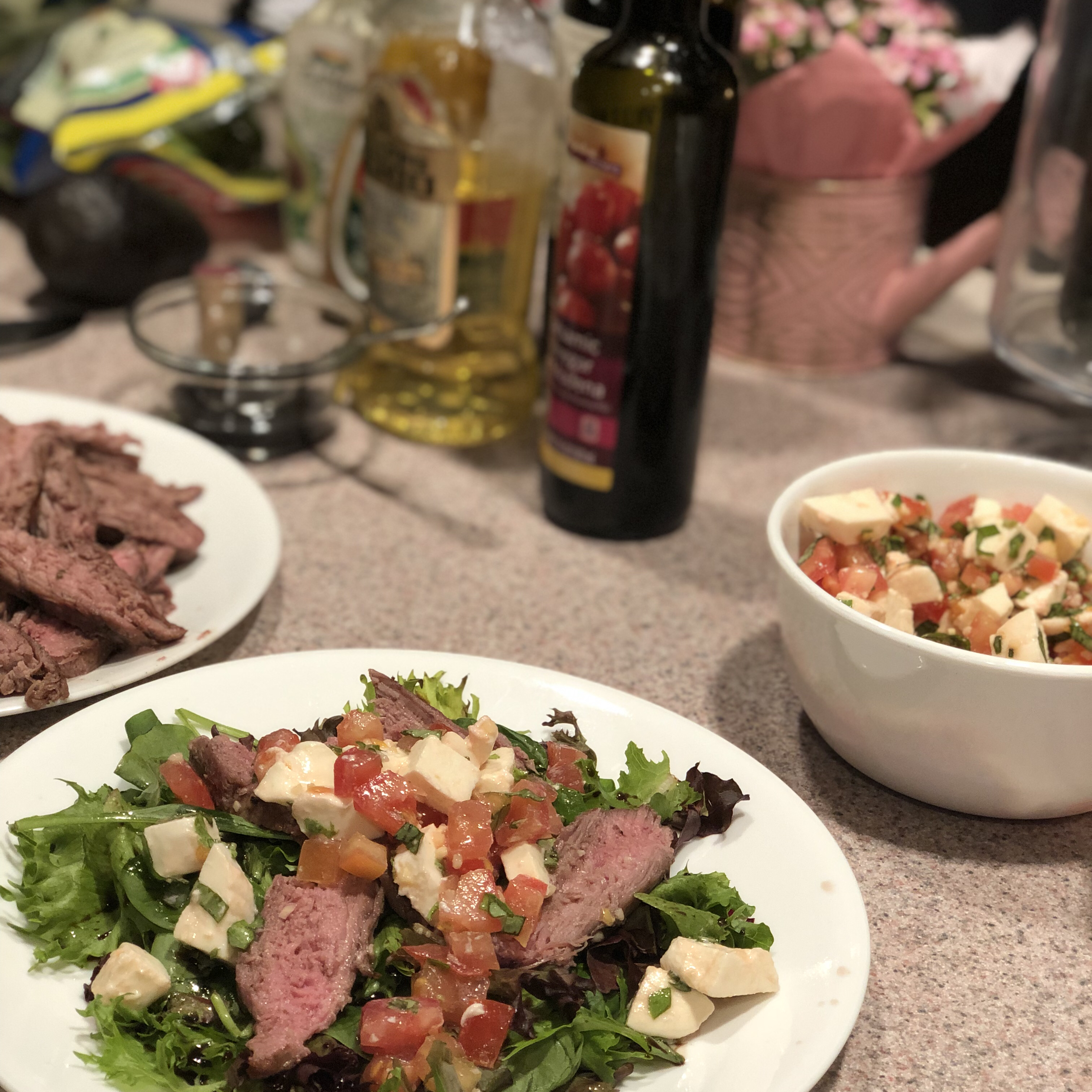 Caprese Salad with Grilled Flank Steak