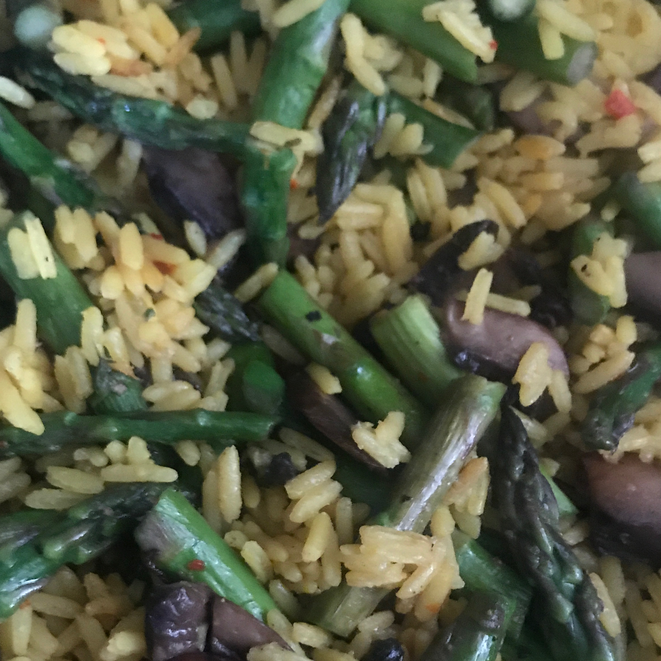 Yellow Rice with Asparagus and Mushrooms