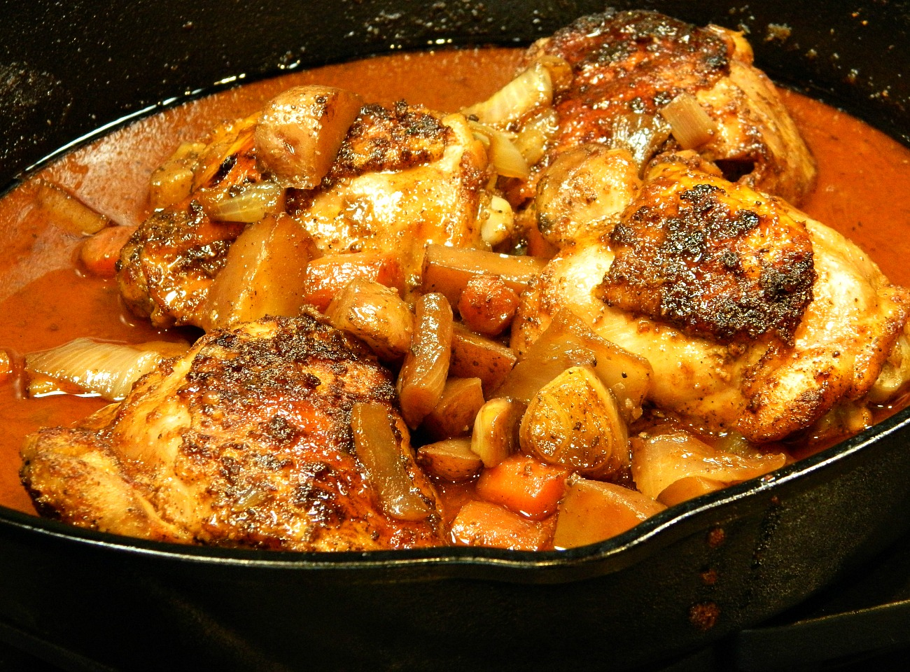 Cast Iron Honey-Sriracha Glazed Chicken with Roasted Root Vegetables