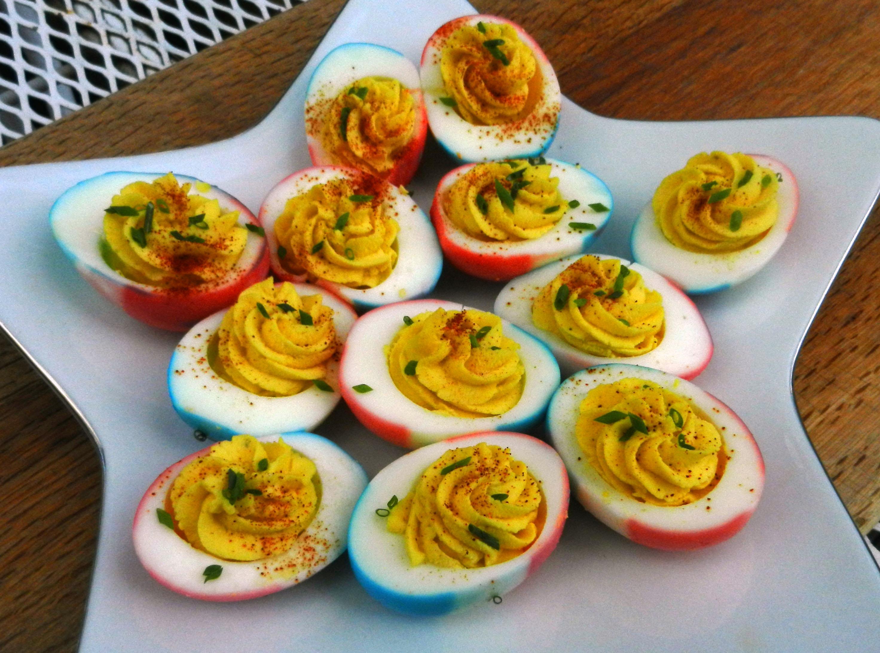 Red, White and Blue Deviled Eggs Gremolata