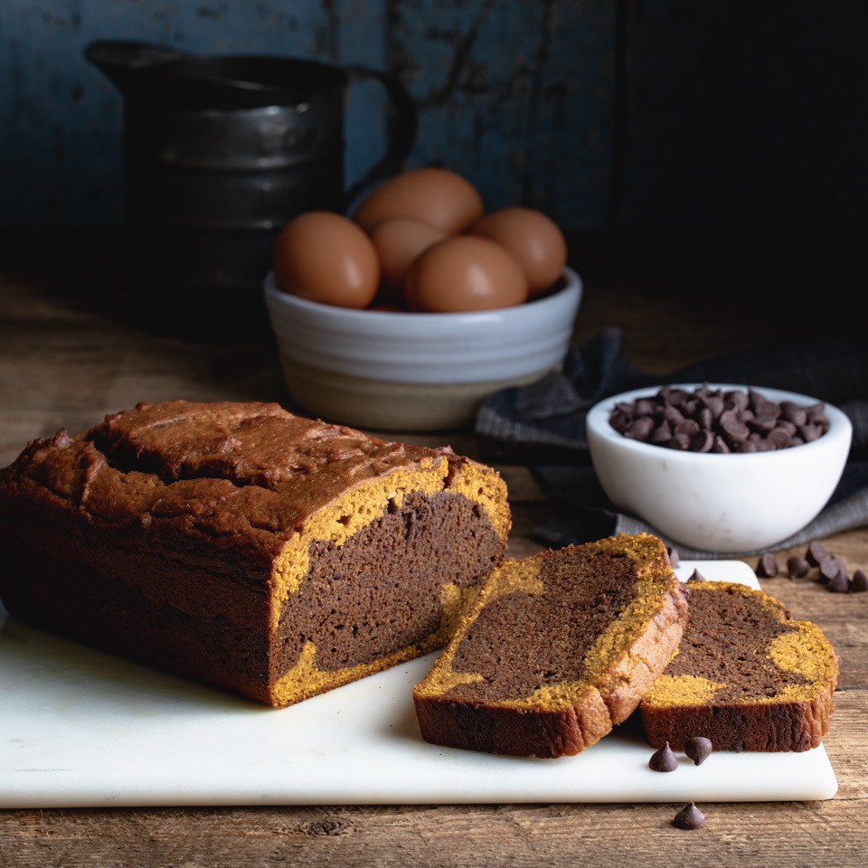 Layers of pumpkin and chocolate batter swirl together to make this equally beautiful and delicious quick bread. A big bonus: you'll use a whole can of pumpkin, so no leftover bits to worry about when making this healthy pumpkin bread. Source: Eatingwell.com, June 2019