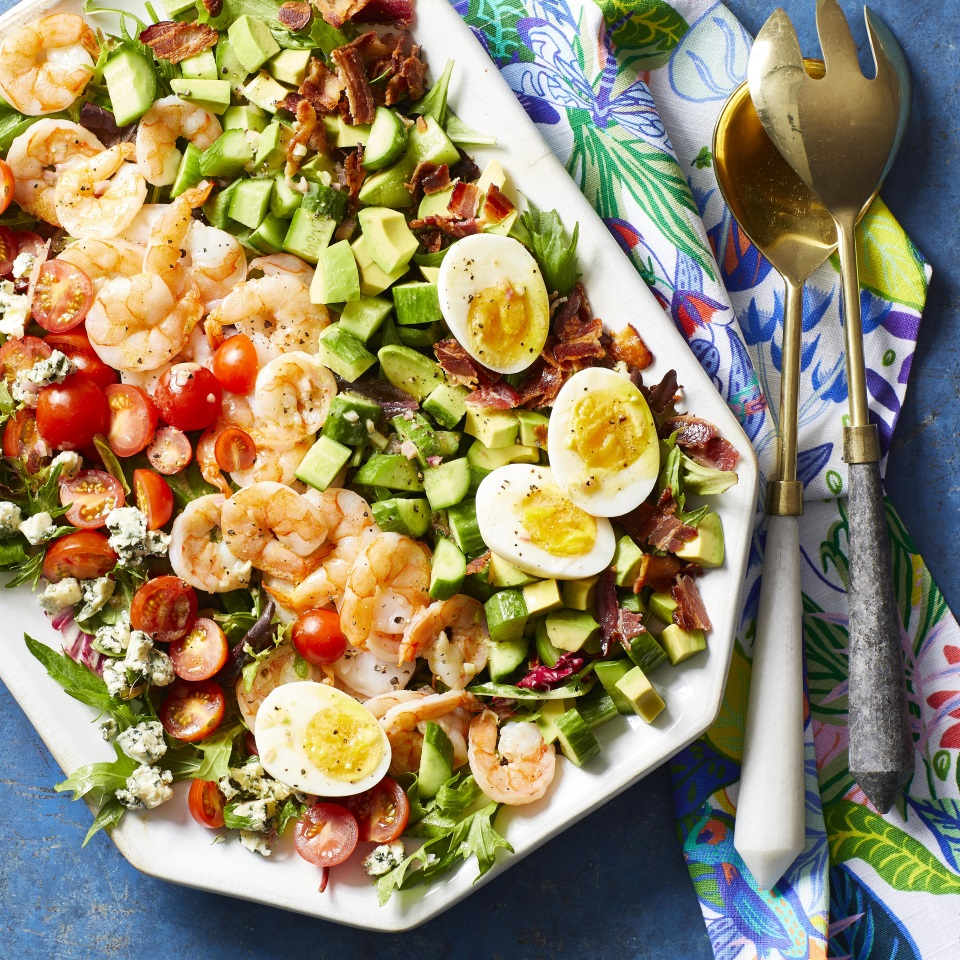 We've replaced chicken with shrimp in this delicious and easy spin on the classic Cobb salad. This satisfying salad takes just 20 minutes to make, so it's perfect for weeknight dinners, but it's elegant enough to serve to guests. Source: EatingWell.com, June2019