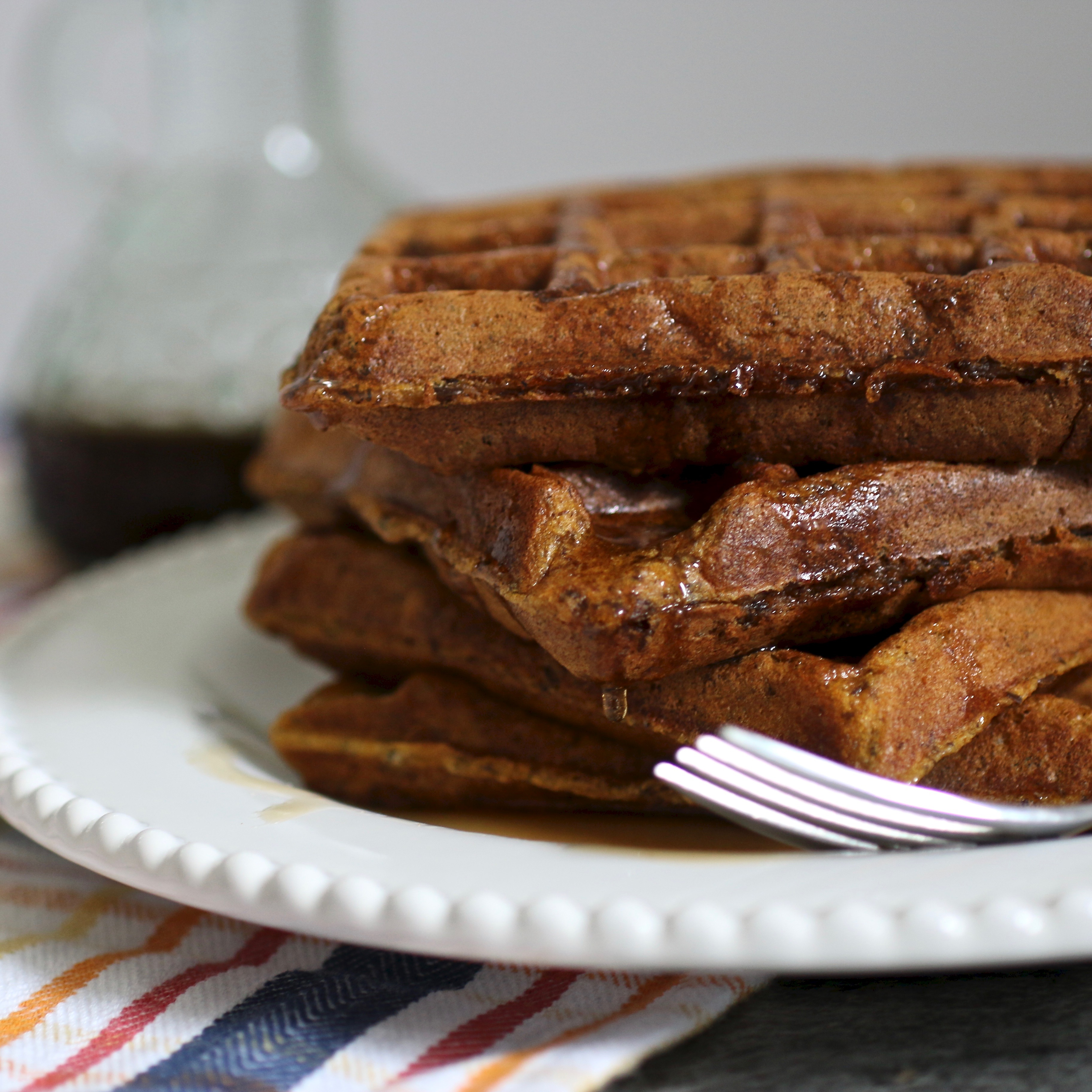 Pumpkin Waffles with Spiced Maple Syrup