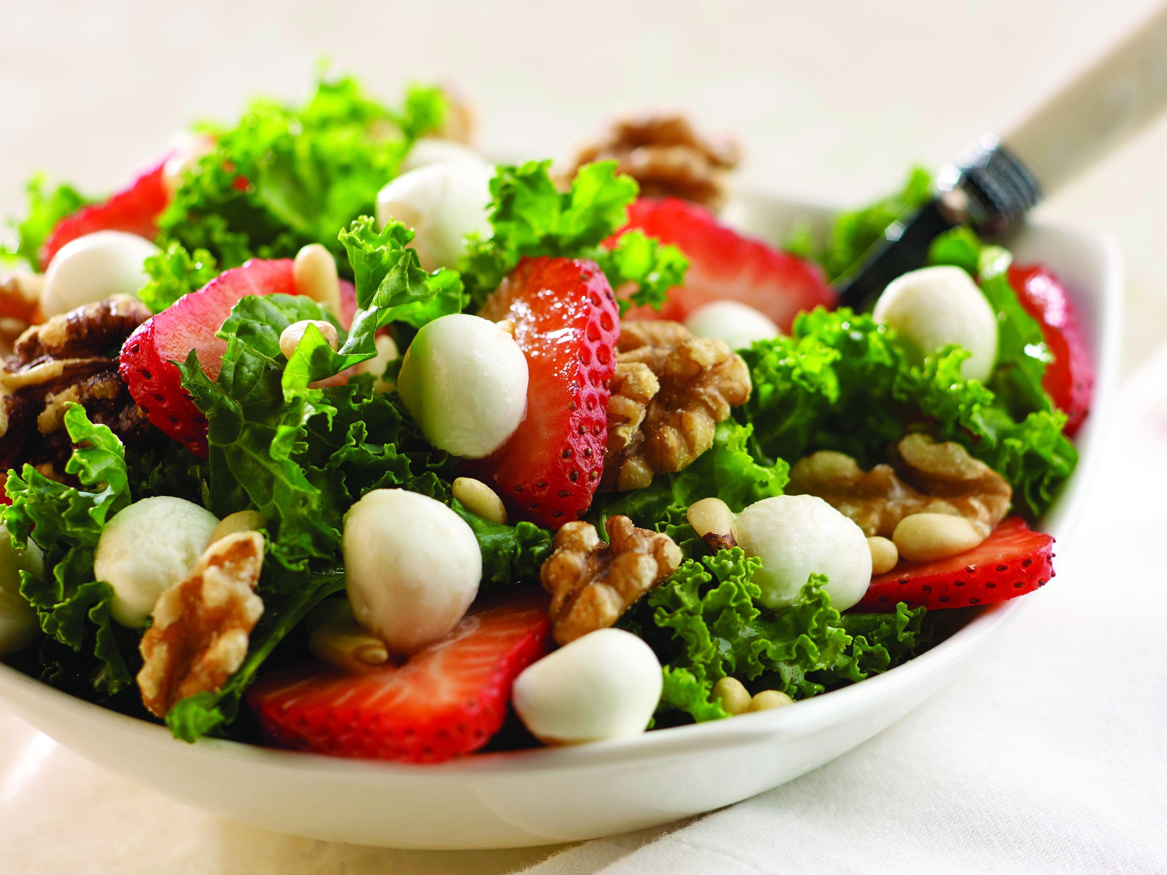 Fresh Mozzarella Strawberry Kale Salad