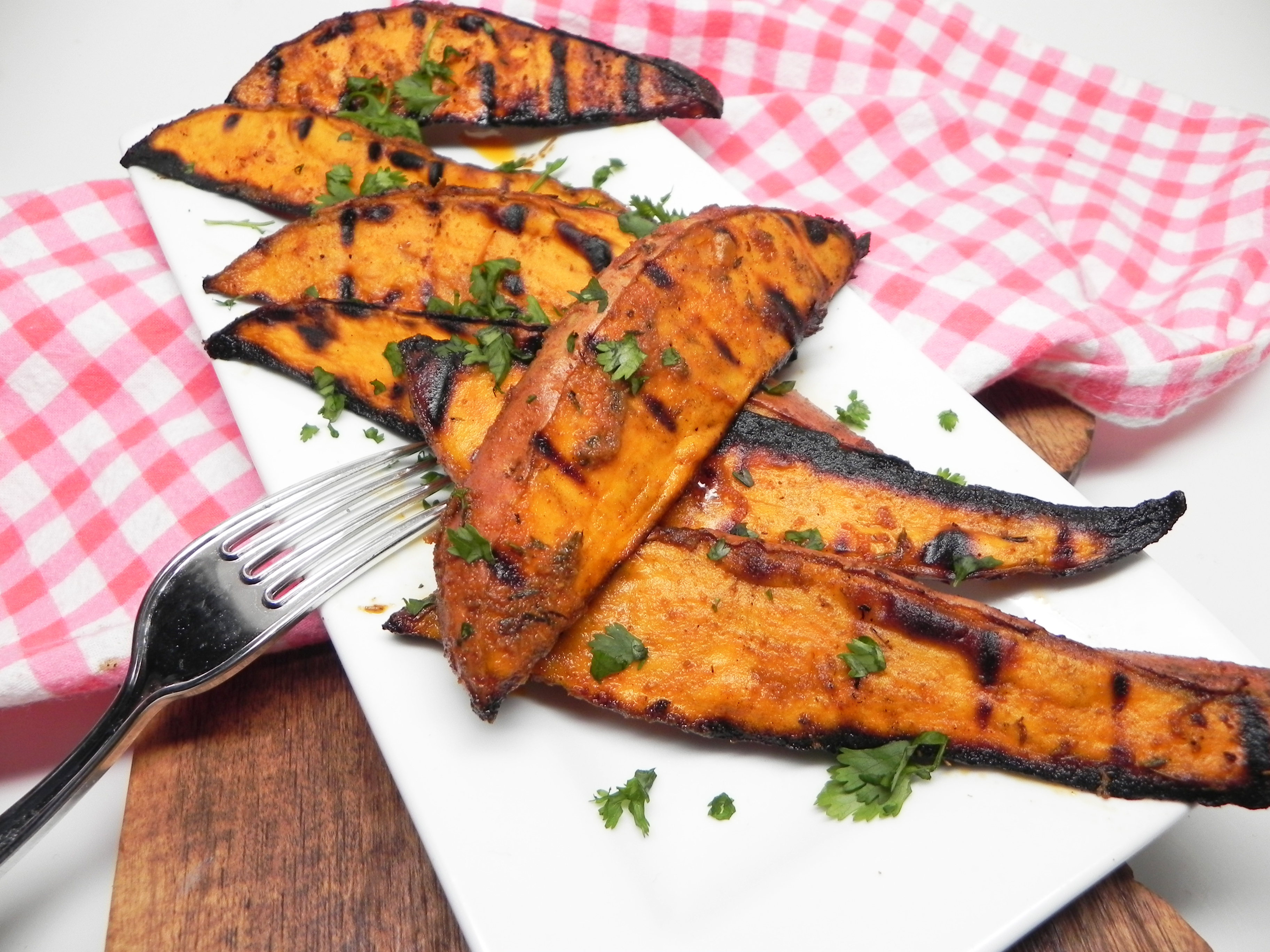 Spicy Grilled Sweet Potato Wedges