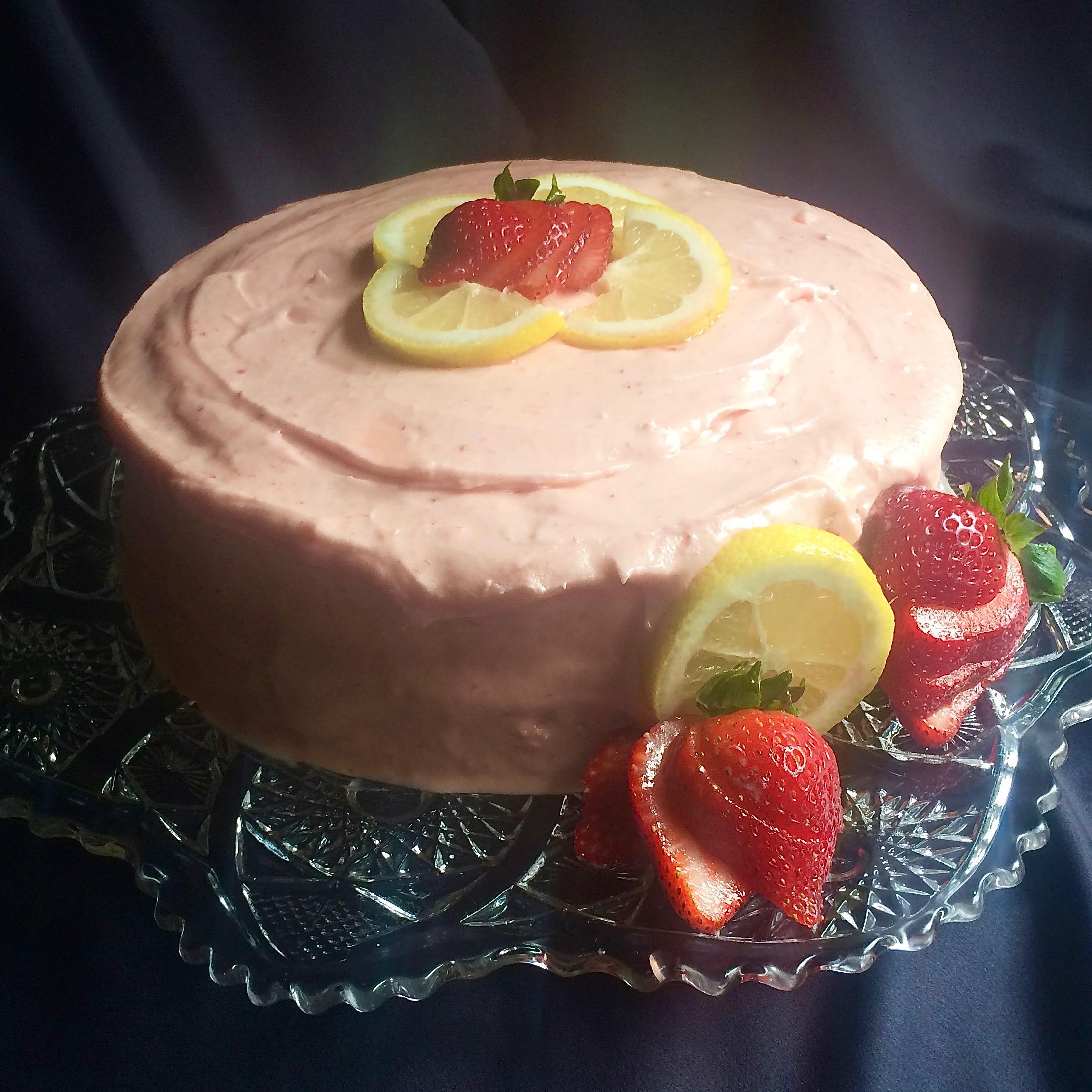 Strawberry Lemonade Cake with Fresh Strawberry Buttercream Frosting Bibi