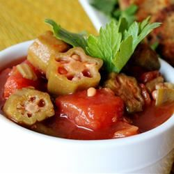 Okra with Tomatoes iheartcooking