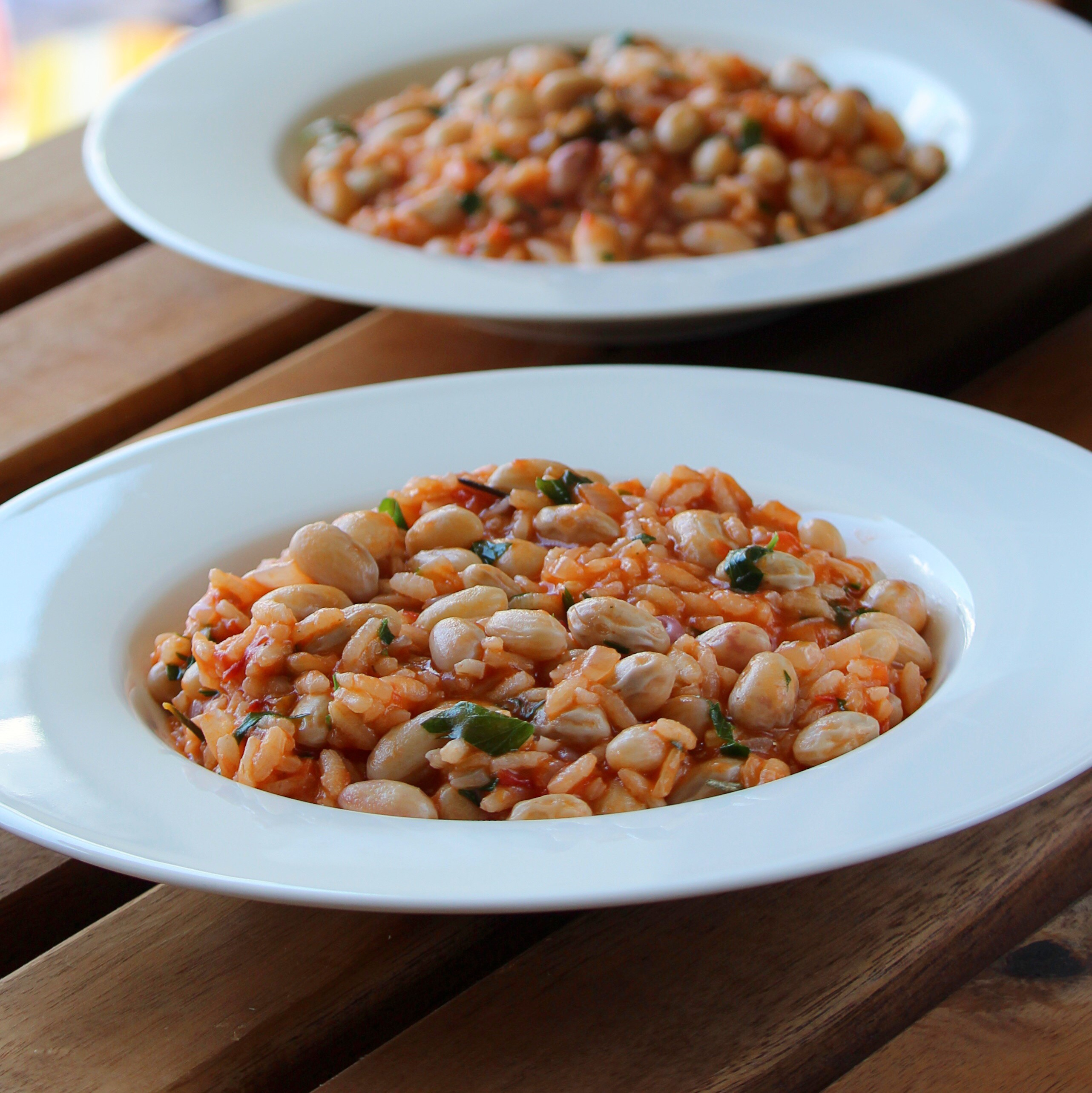 """Creamy risotto made with fresh cranberry beans comes from the Lombardy region of Italy,"" says Buckwheat Queen. ""With traditional flavors from the region, this risotto is bursting with flavor and healthy goodness. Cranberry beans are also called borlotti beans."""