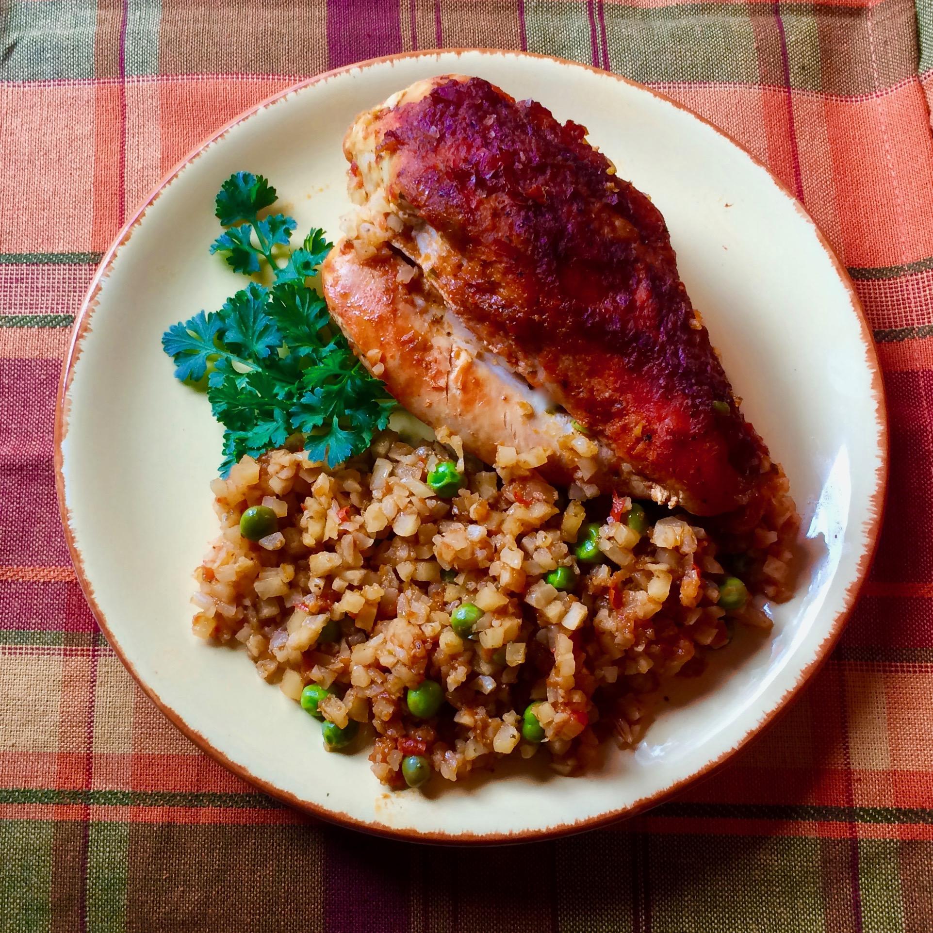 Sofrito Chicken and Cauliflower Rice