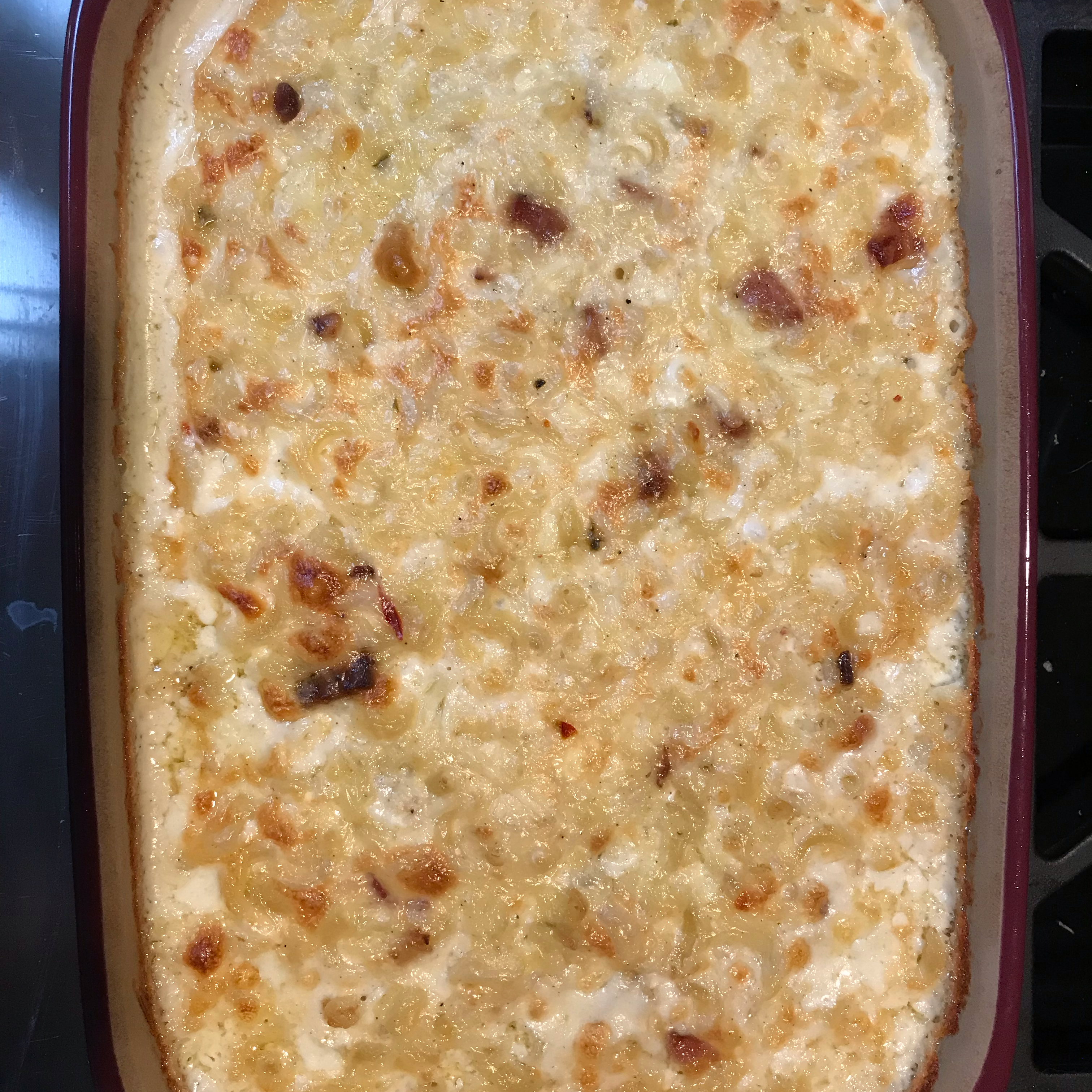 Gluten-Free Macaroni and Three Cheeses with Bacon Dee