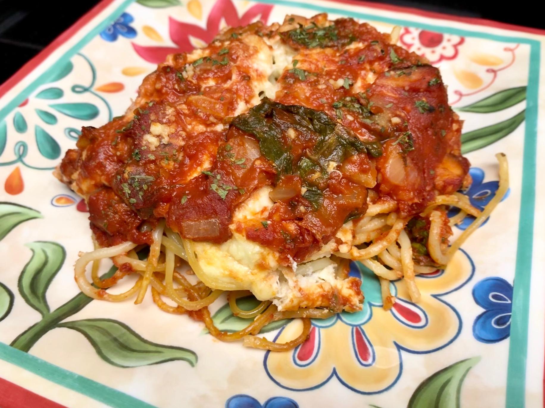 Spaghetti Lasagna Florentine with Crab