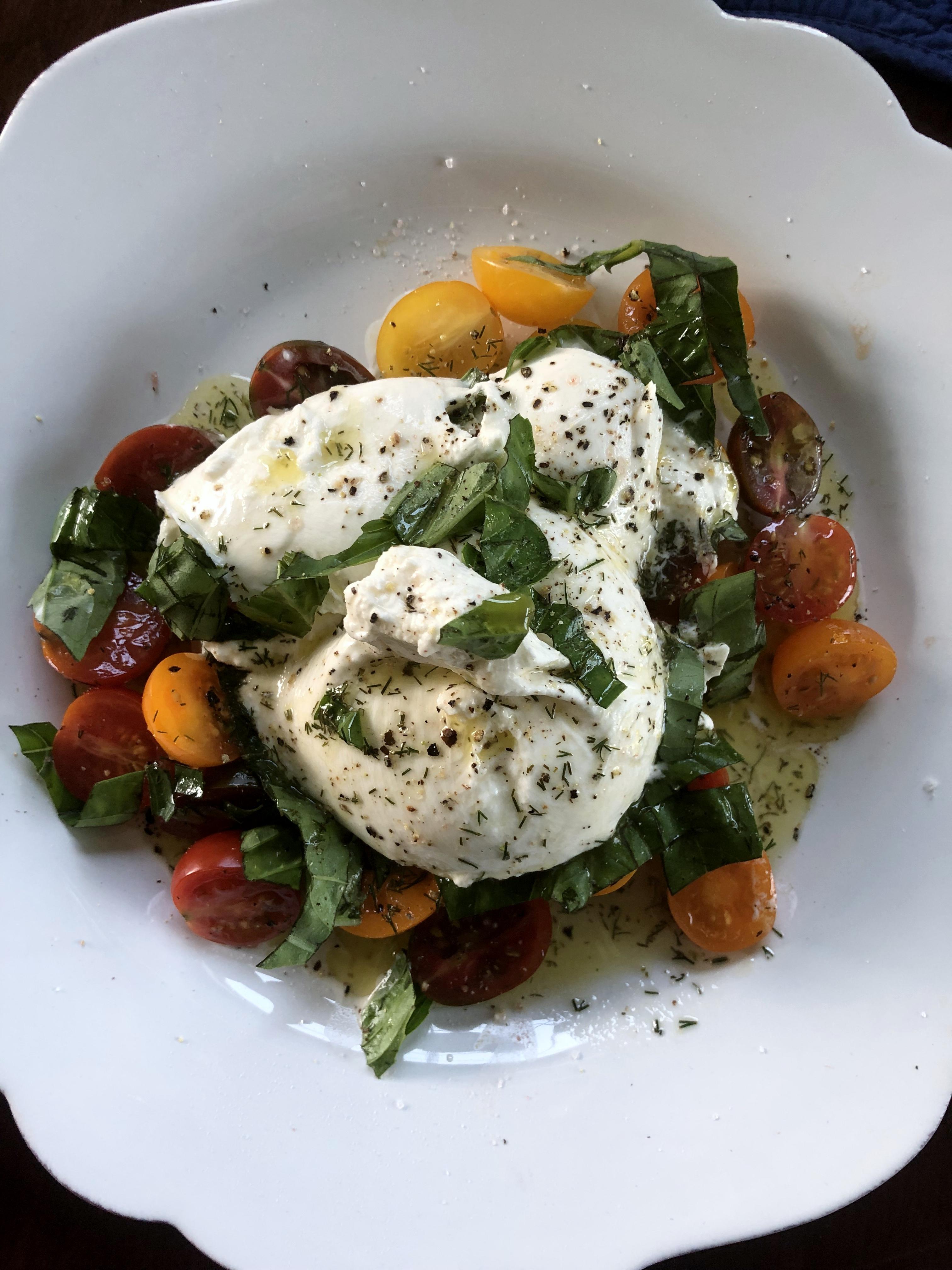 Roasted Tomatoes and Burrata Caprese Salad naples34102