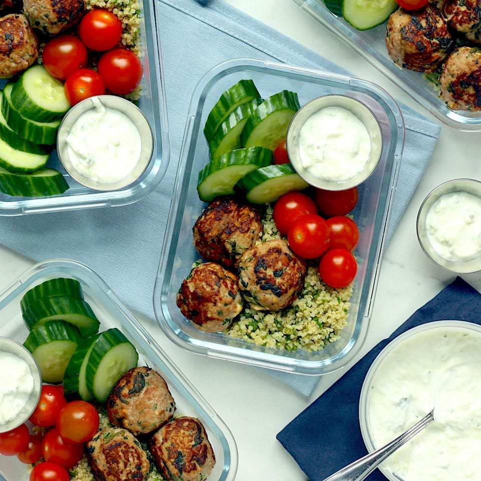 With a variety of flavors and textures (and a whopping 30 grams of protein!), these Mediterranean-inspired meal-prep bowls will keep you fueled all afternoon. The turkey meatballs are adapted from Greek Turkey Burgers with Spinach, Feta & Tzatziki by Hilary Meyer. Look for premade tzatziki near the specialty cheeses and dips at your grocery store or make your own (see Associated Recipes). Source: Eatingwell.com, July 2019
