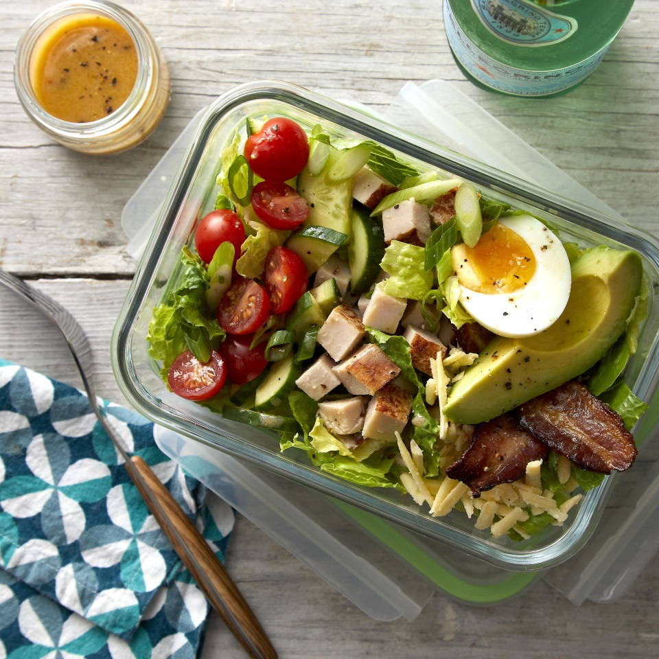 Cubed deli turkey takes the place of chicken, while Cheddar replaces blue cheese in this easy Cobb-inspired salad. The protein-rich turkey and cheese, plus eggs and bacon, gives the salad staying power, so you won't get hungry an hour after you eat. Feel free to swap out the turkey for cooked chicken or chickpeas to mix things up. Serve the salad right away or pack it up in individual containers and you'll be set for lunch for days. Source: Eatingwell.com, July 2019